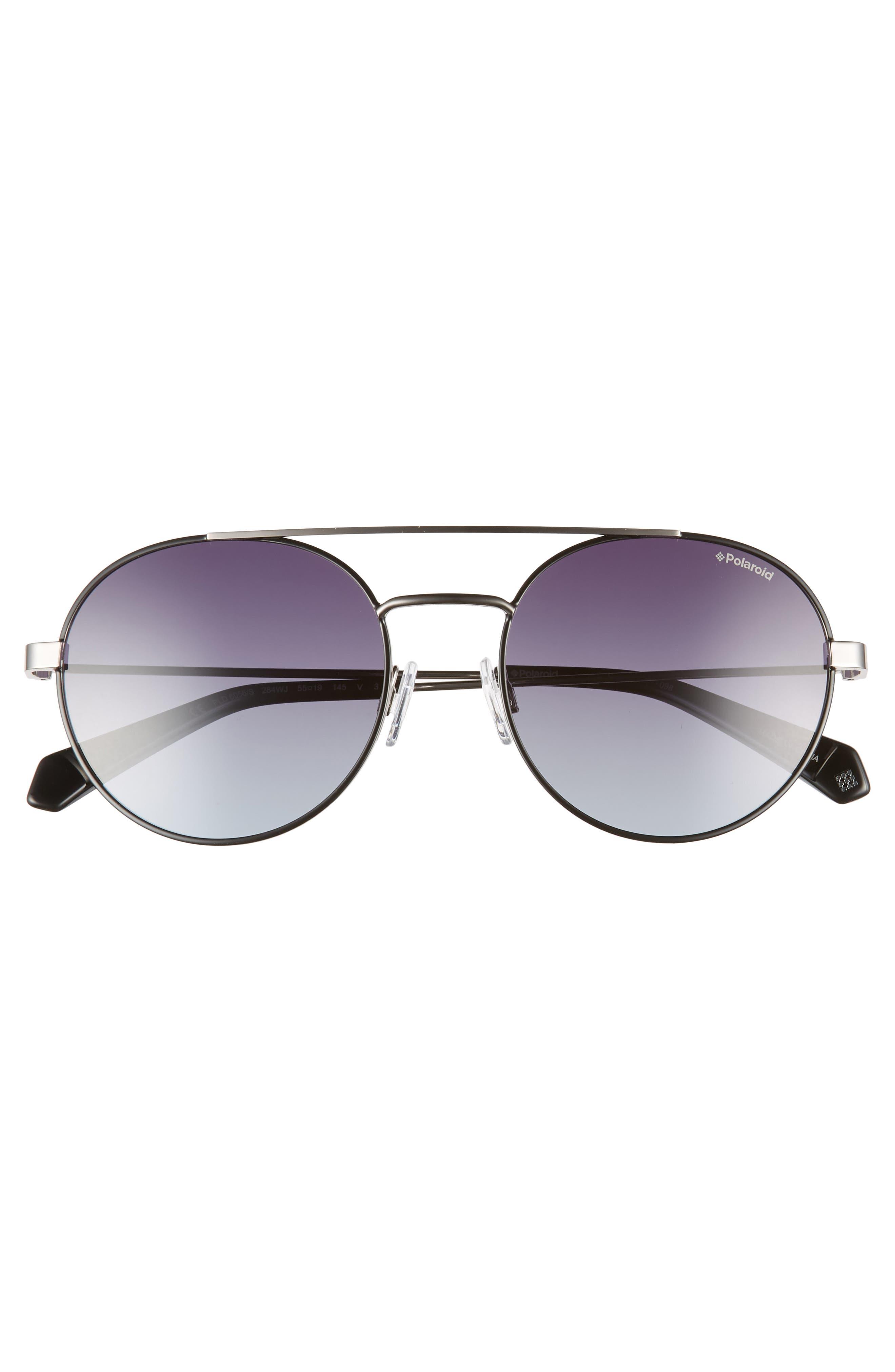 Round 55mm Polarized Sunglasses,                             Alternate thumbnail 2, color,                             BLACK