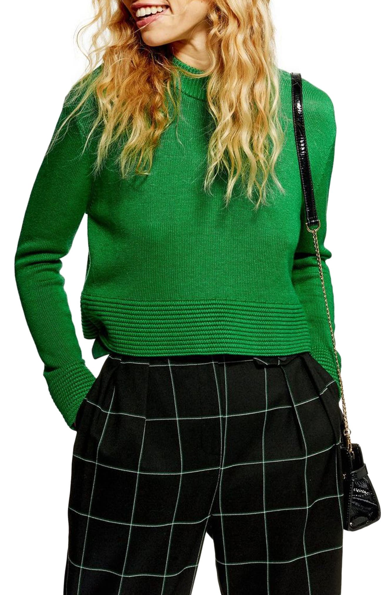 Cash Ottoman Crop Sweater,                             Main thumbnail 1, color,                             GREEN