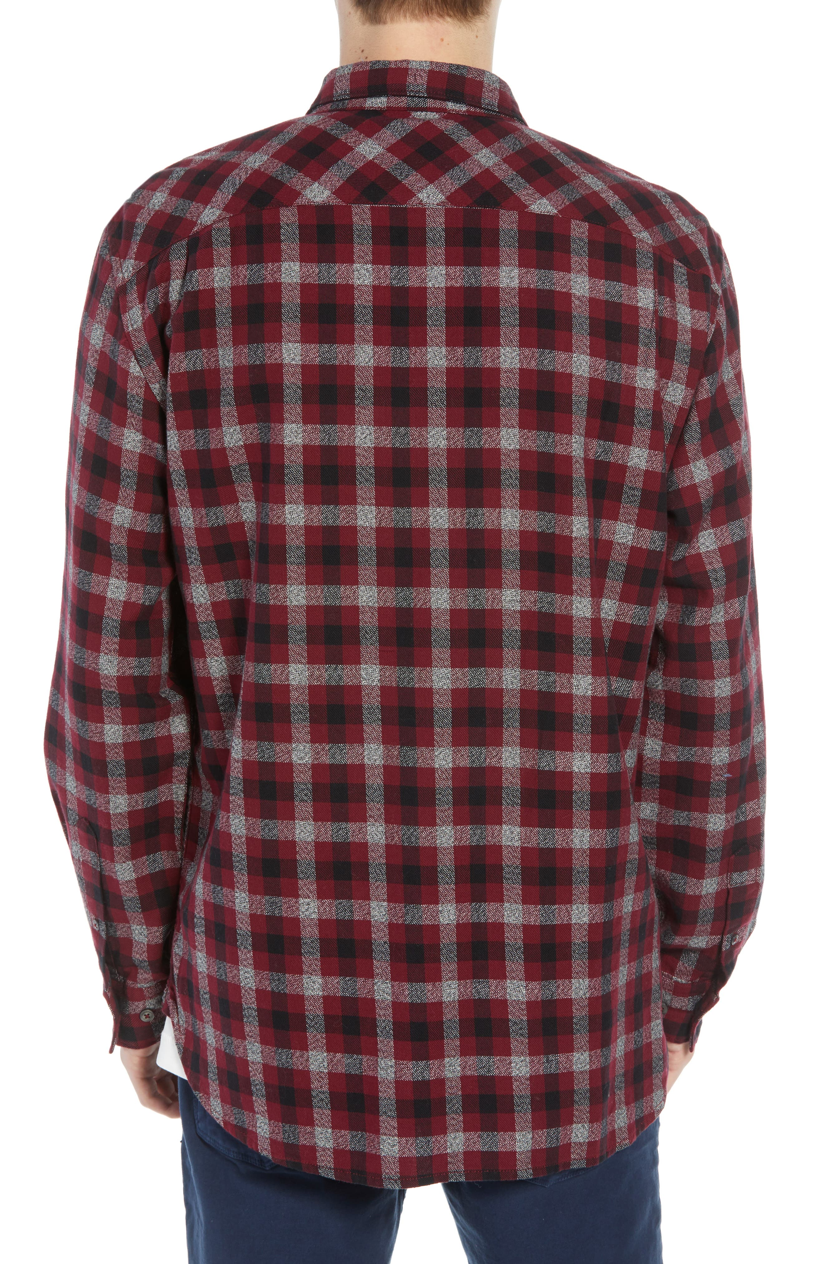 Regular Fit Dobby Check Shirt,                             Alternate thumbnail 3, color,                             RASPBERRY BERET