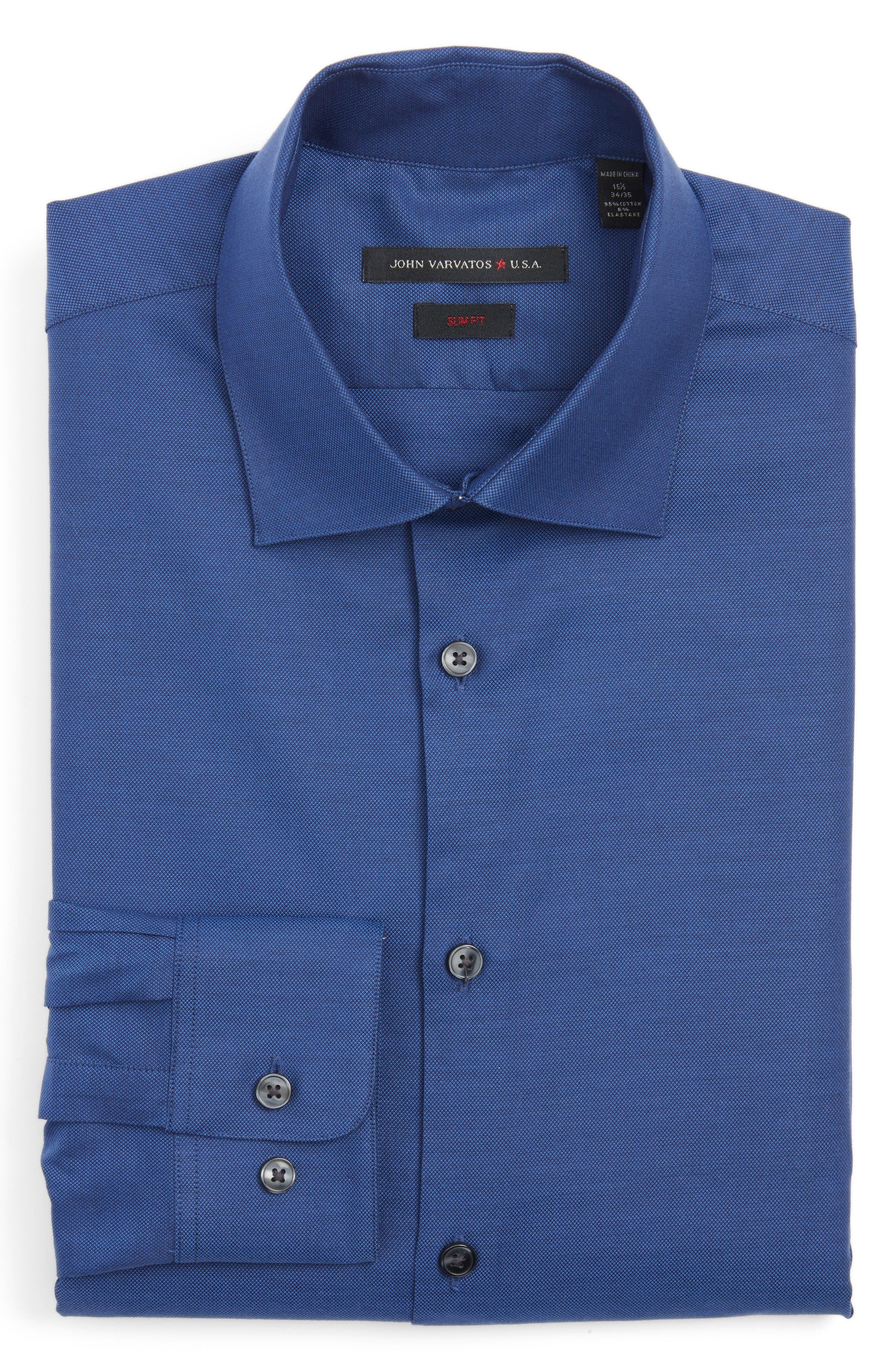 Slim Fit Solid Dress Shirt,                             Main thumbnail 1, color,