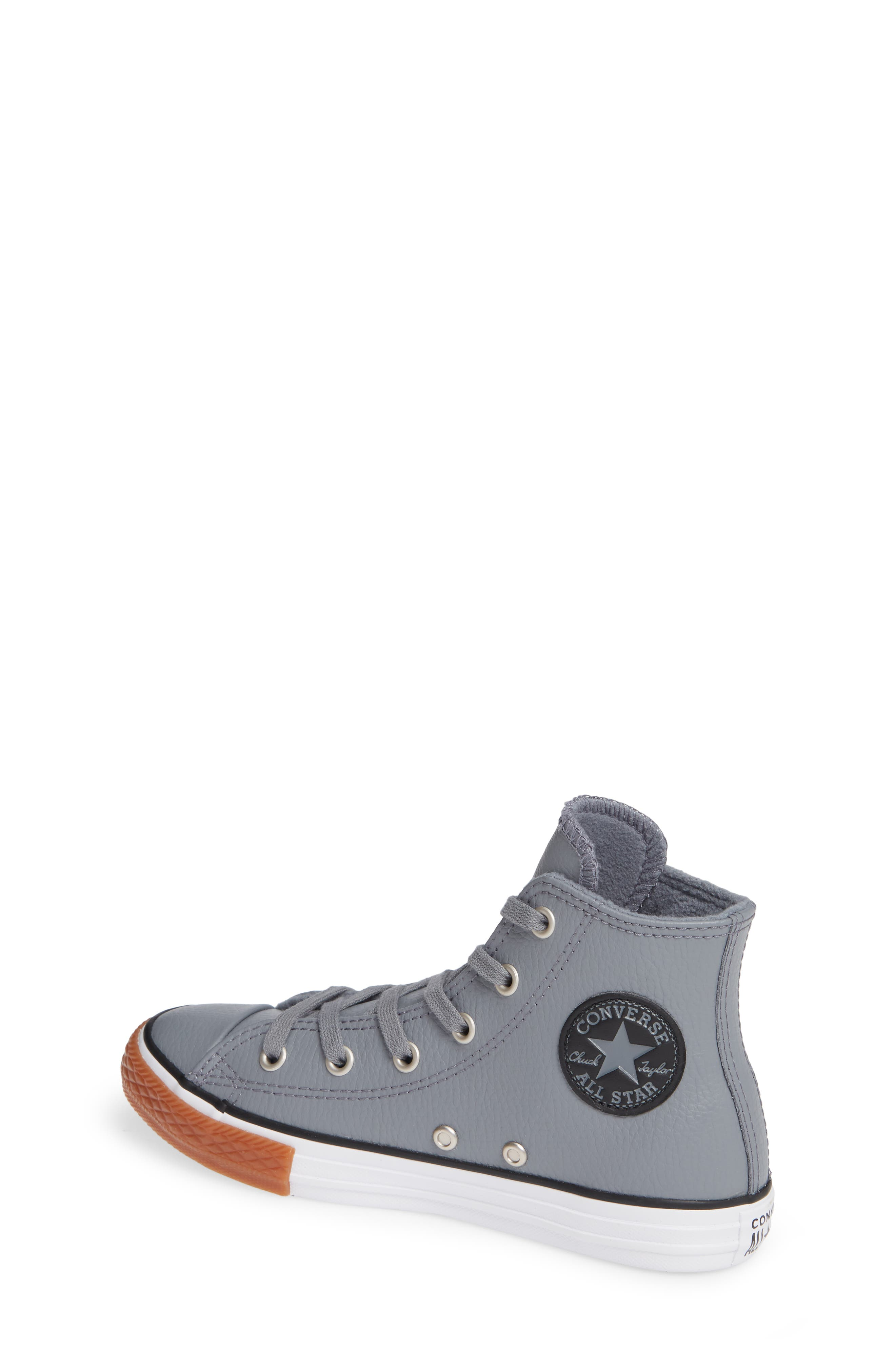 Chuck Taylor<sup>®</sup> All Star<sup>®</sup> No Gum In Class Leather High Top Sneaker,                             Alternate thumbnail 2, color,                             COOL GREY