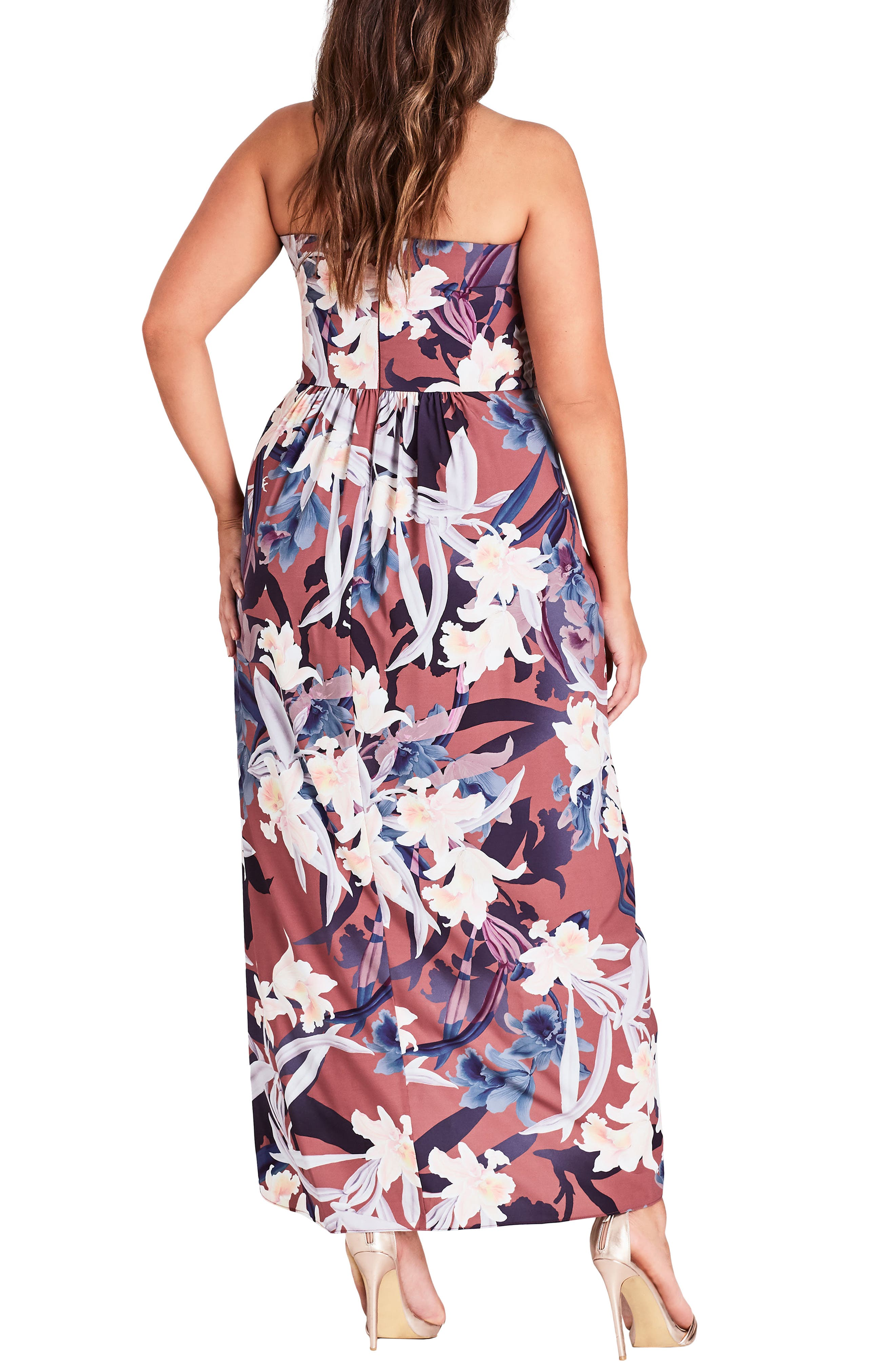 CITY CHIC,                             Lavish Floral Strapless Dress,                             Alternate thumbnail 2, color,                             200