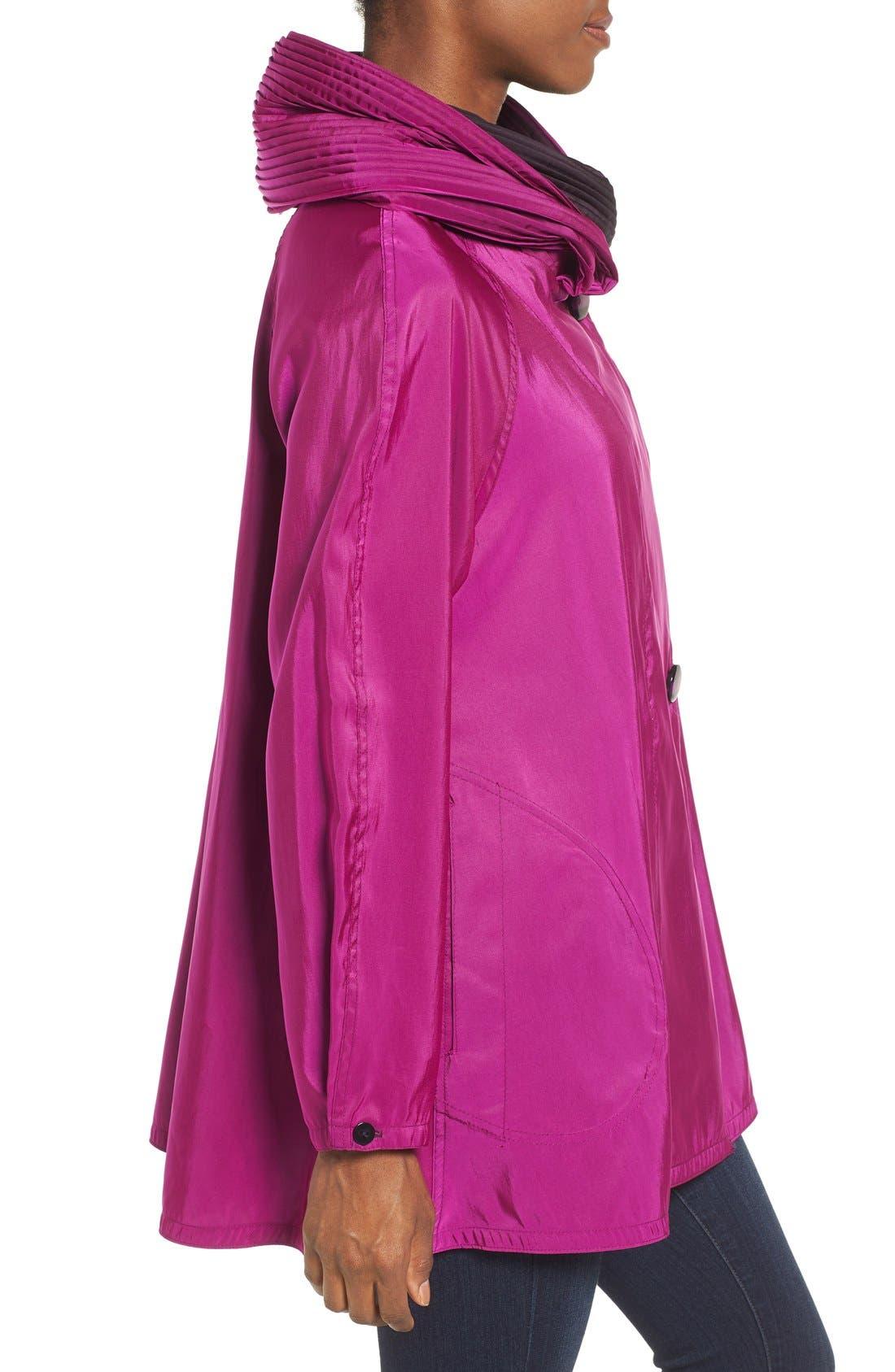 'Mini Donatella' Reversible Pleat Hood Packable Travel Coat,                             Alternate thumbnail 43, color,