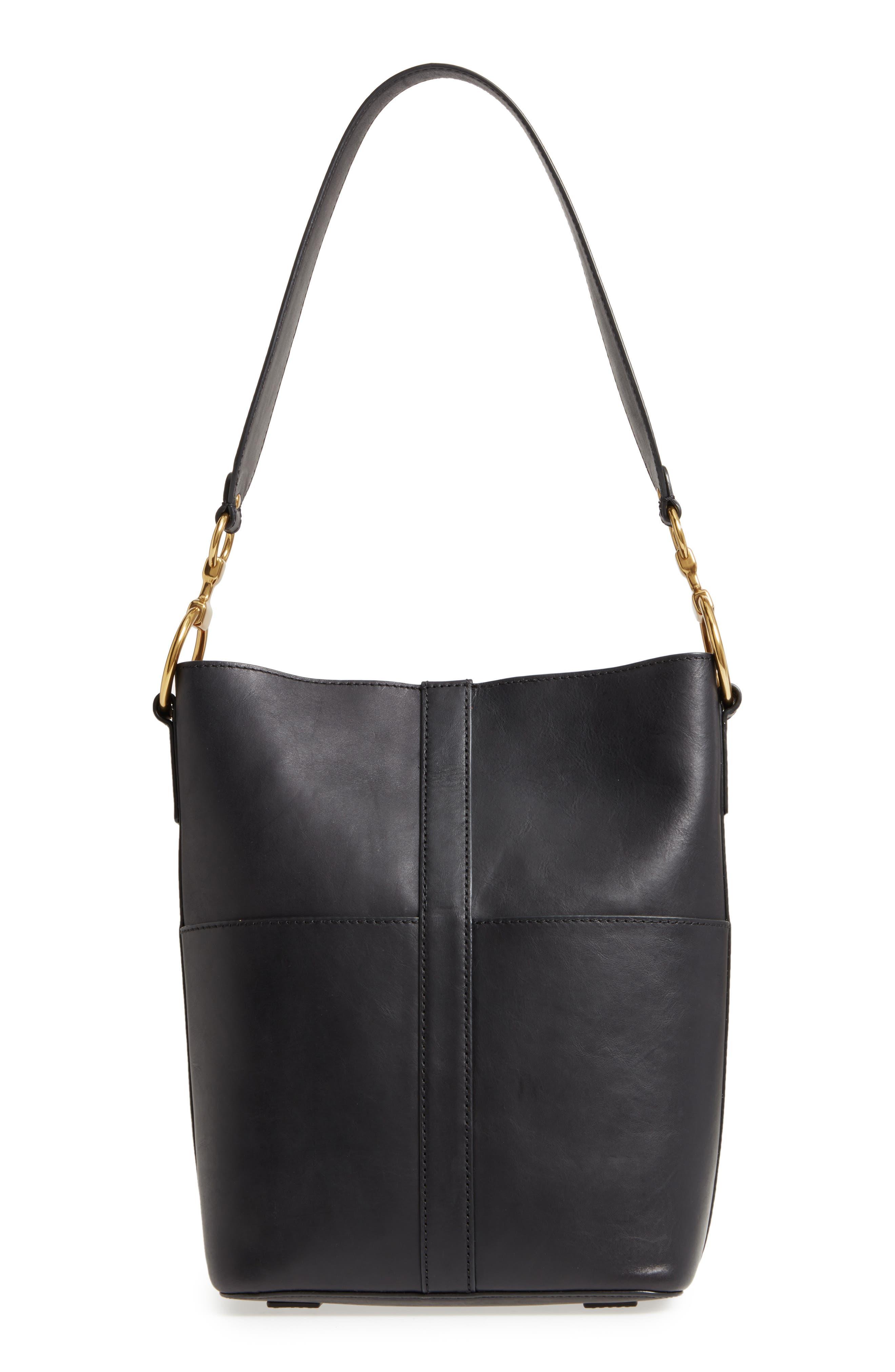 Ilana Harness Leather Bucket Hobo,                         Main,                         color, 001