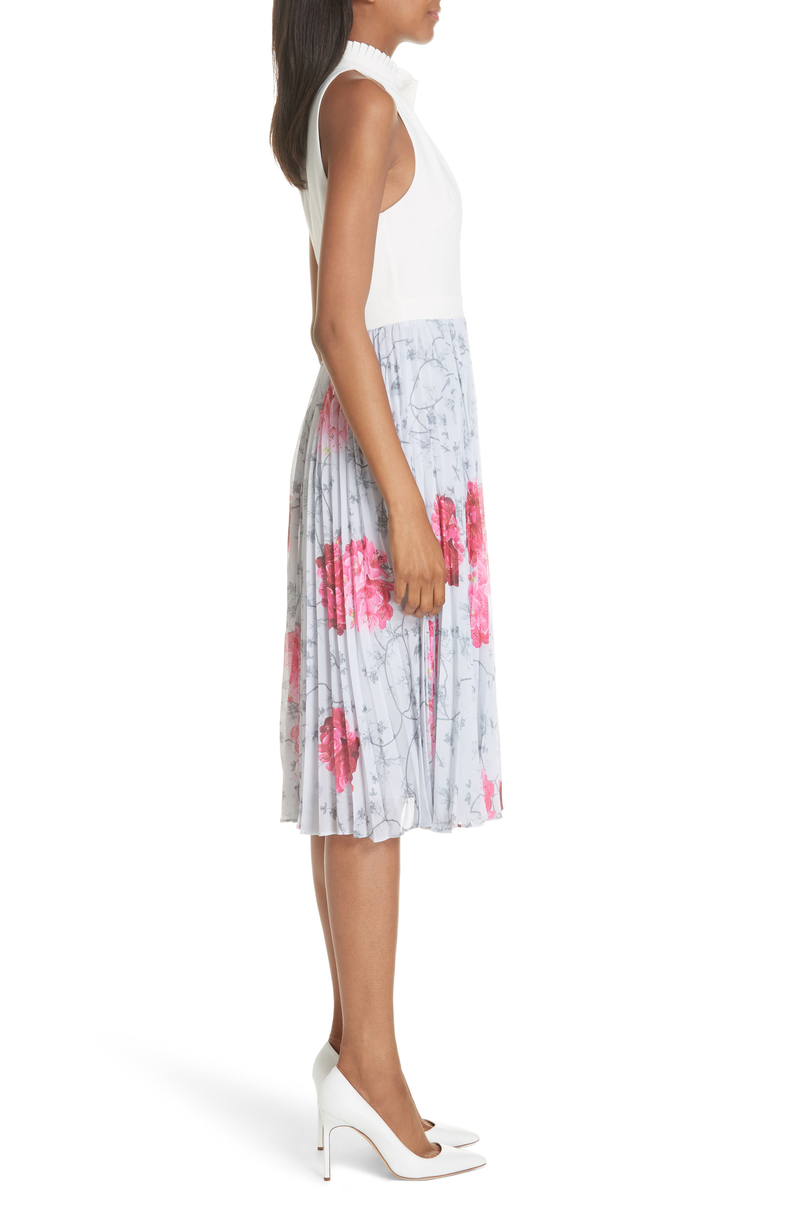 Babylon Pleat A-Line Dress,                             Alternate thumbnail 3, color,                             GREY