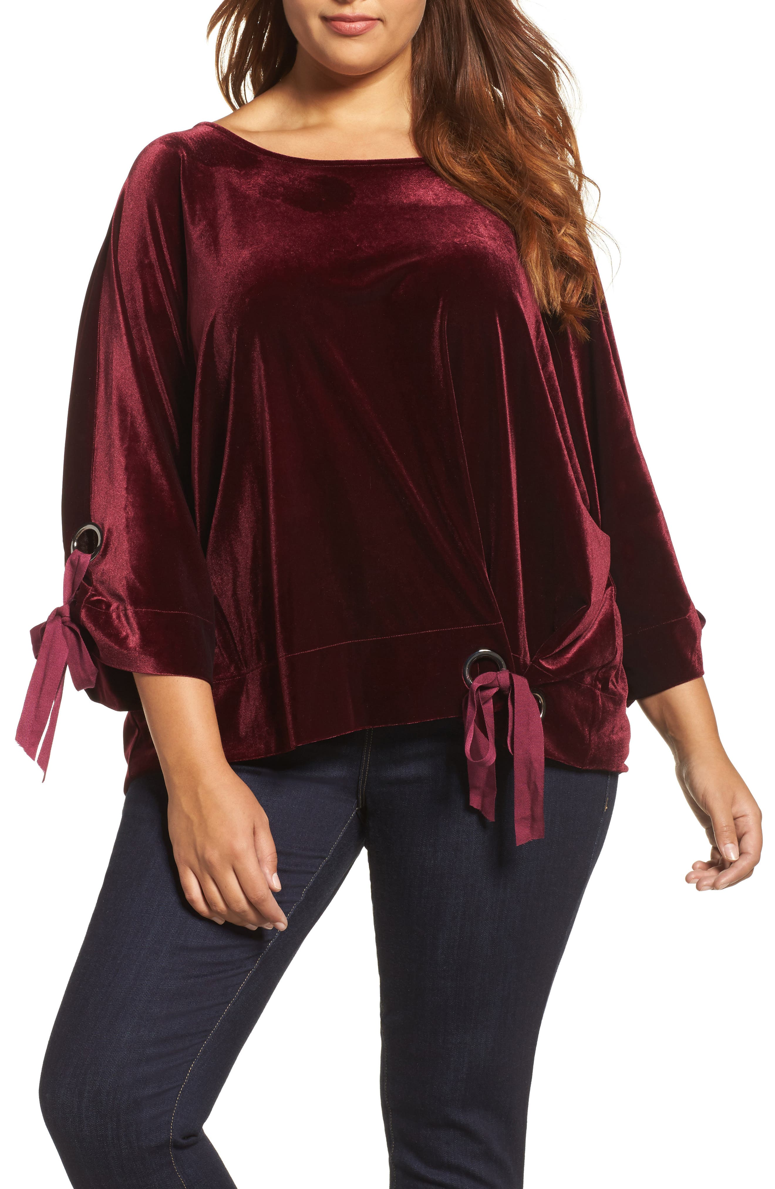 Grommet Detail Velvet Top,                         Main,                         color,
