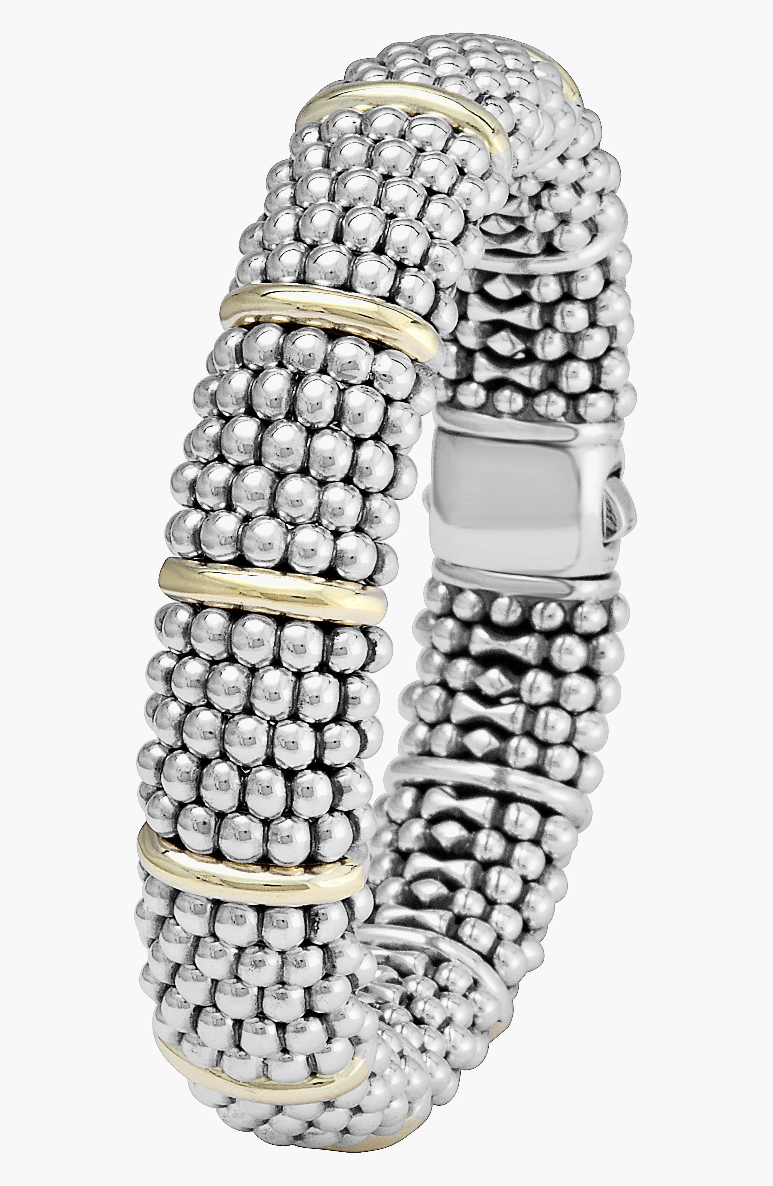 LAGOS,                             Oval Caviar Bracelet,                             Alternate thumbnail 4, color,                             SILVER/ GOLD