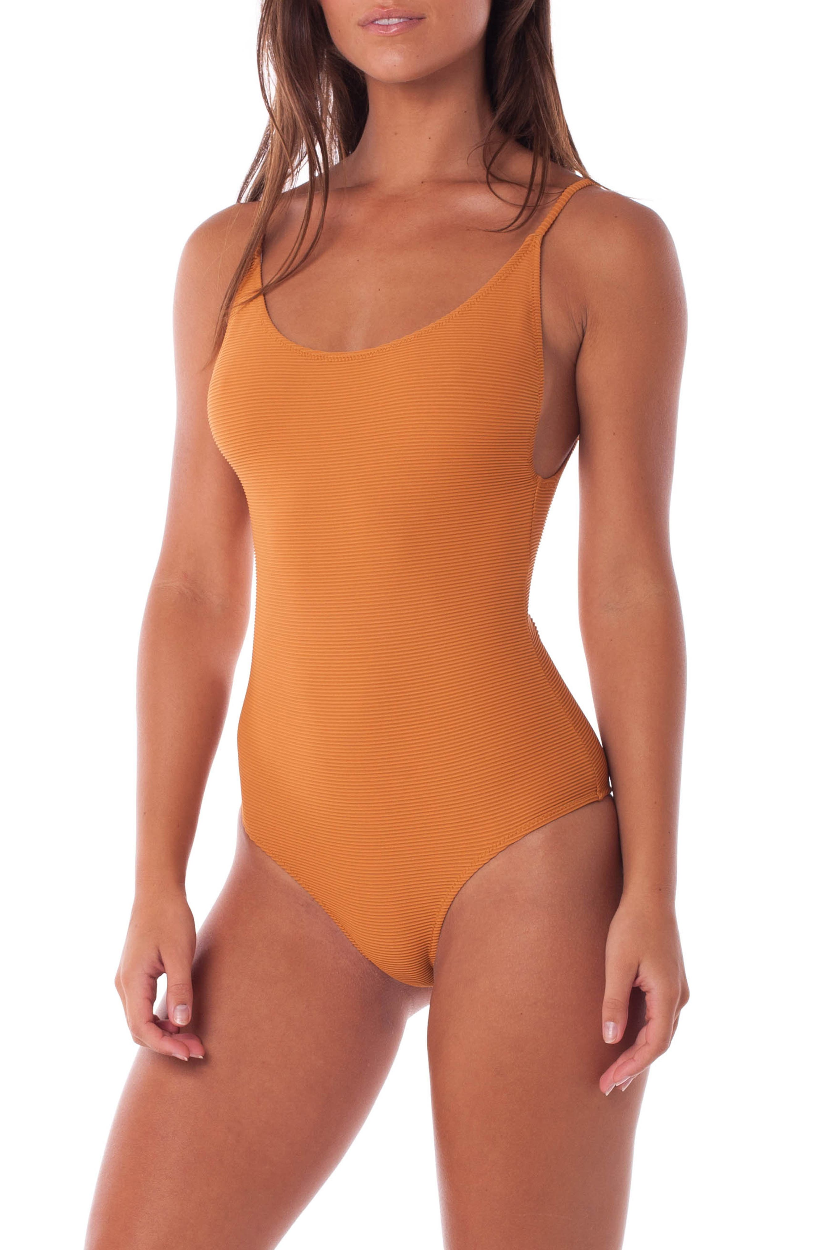 Palm Springs Ribbed One-Piece Swimsuit,                             Alternate thumbnail 3, color,                             GINGER
