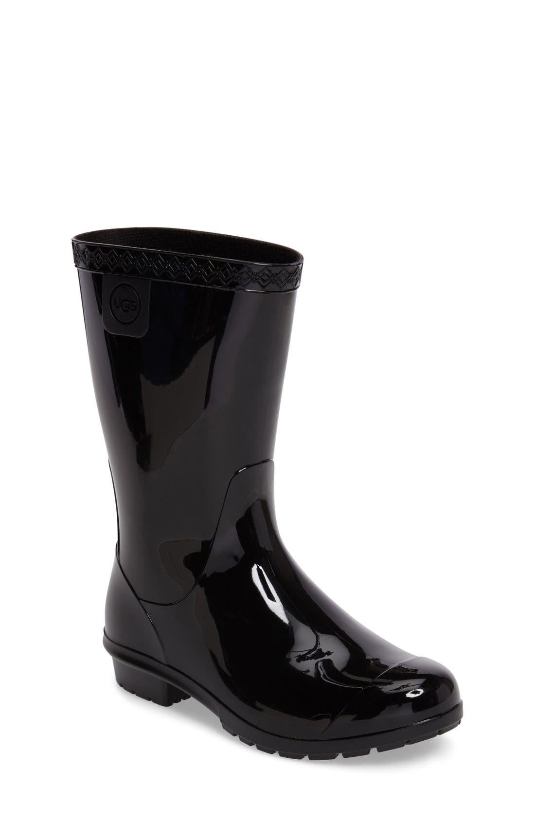Raana Waterproof Rain Boot,                             Main thumbnail 1, color,                             BLACK