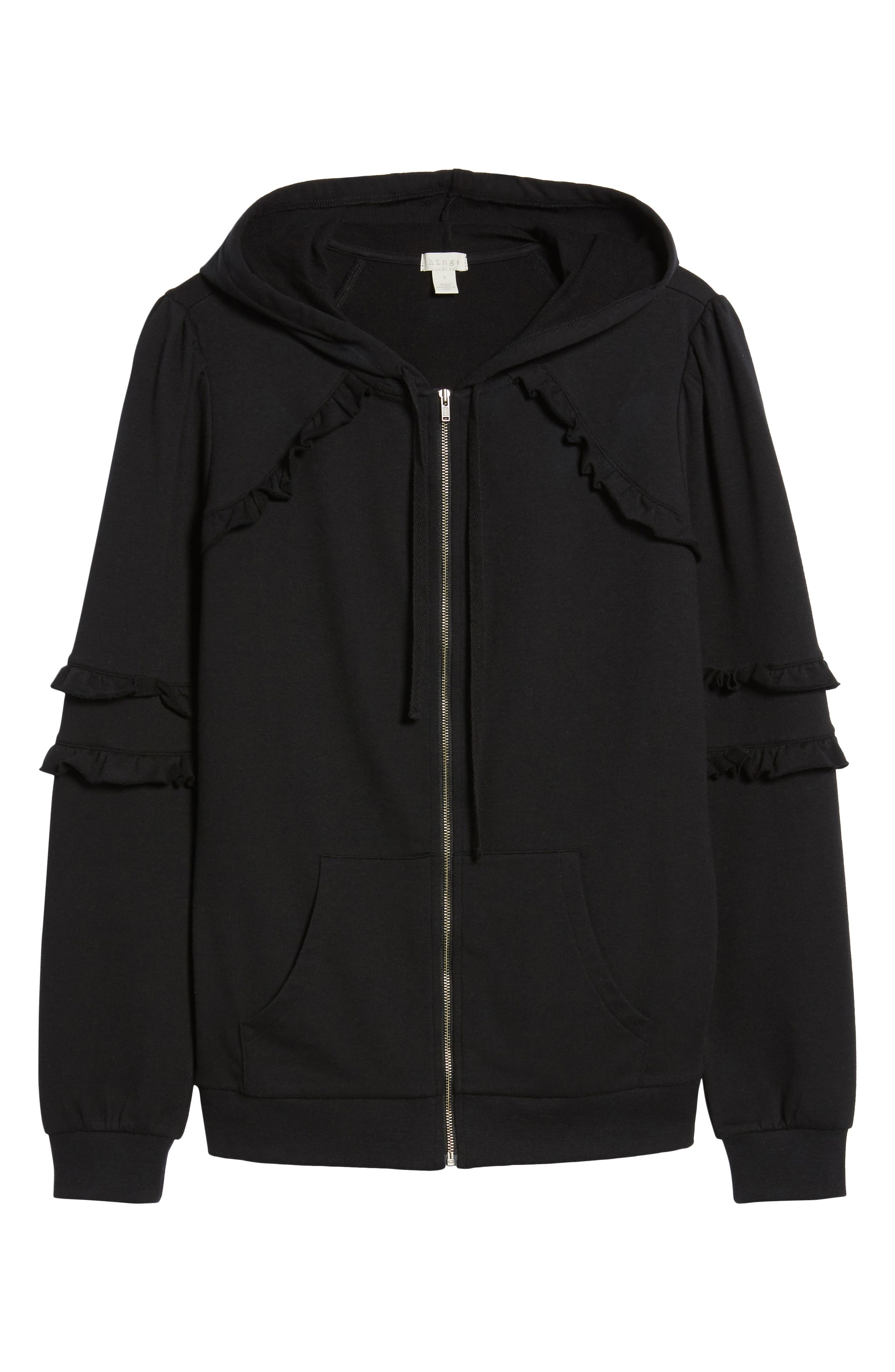 Ruffle Zip Hoodie,                             Alternate thumbnail 6, color,