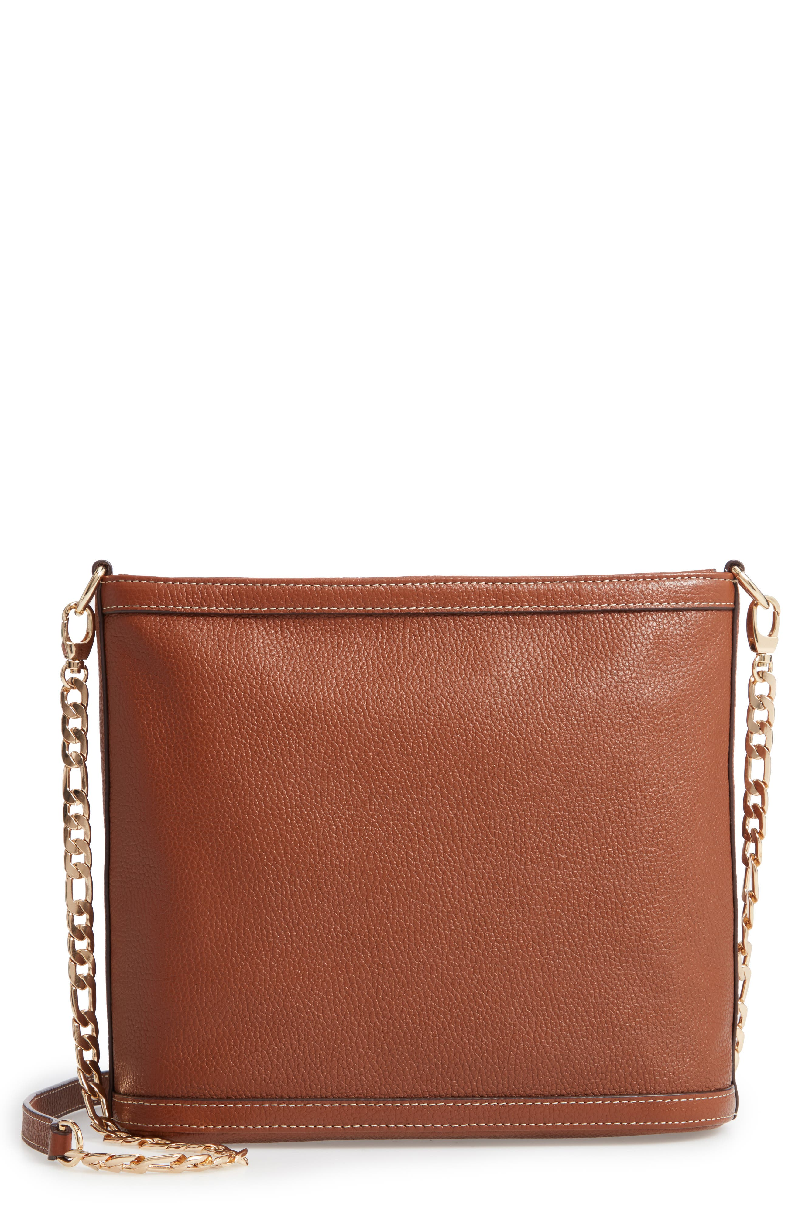 NORDSTROM,                             Maribel Leather Crossbody Bag,                             Main thumbnail 1, color,                             BROWN AZTEC