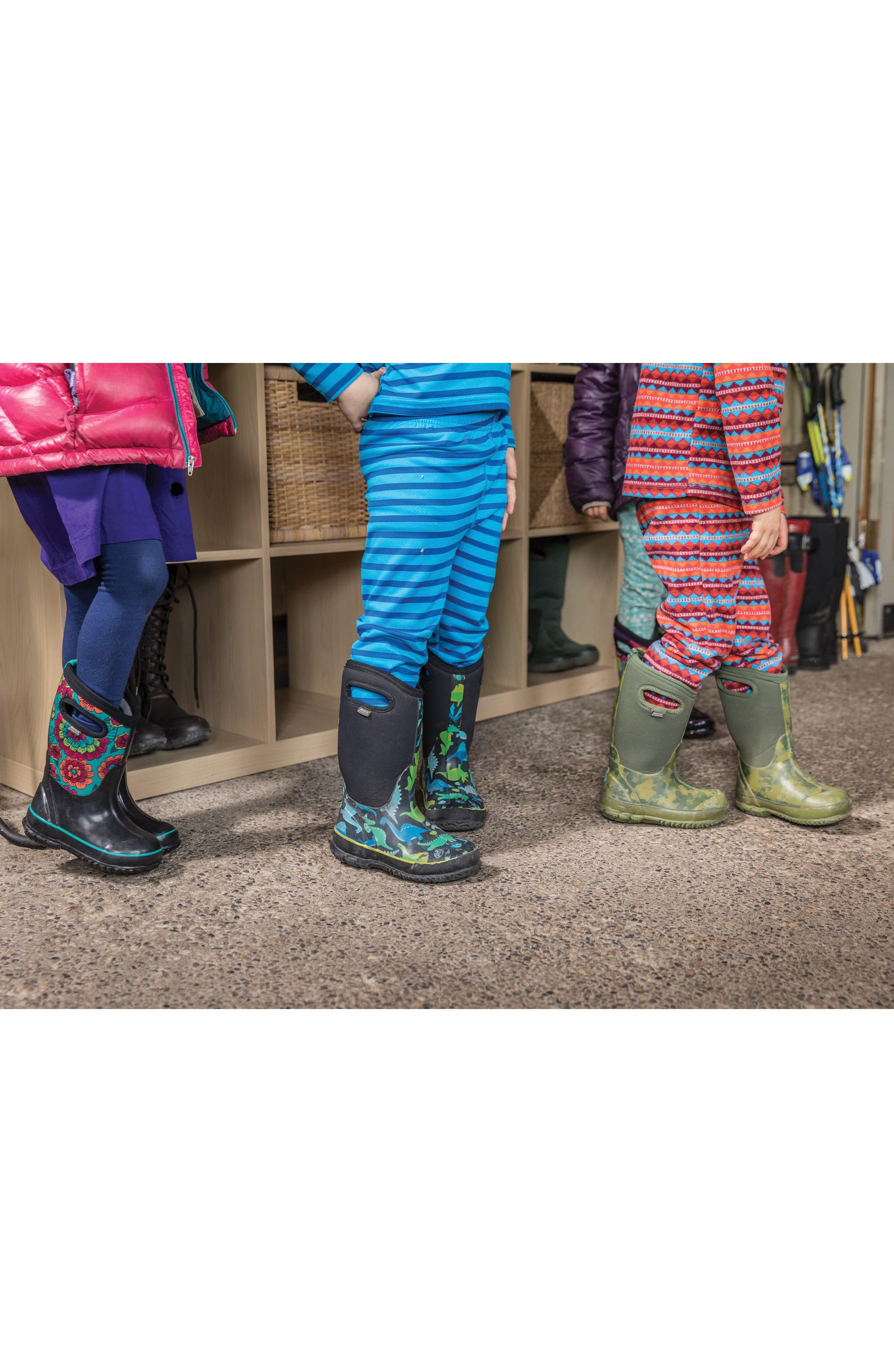 Classic Pansies Insulated Waterproof Rain Boot,                             Alternate thumbnail 7, color,                             BLACK MULTI