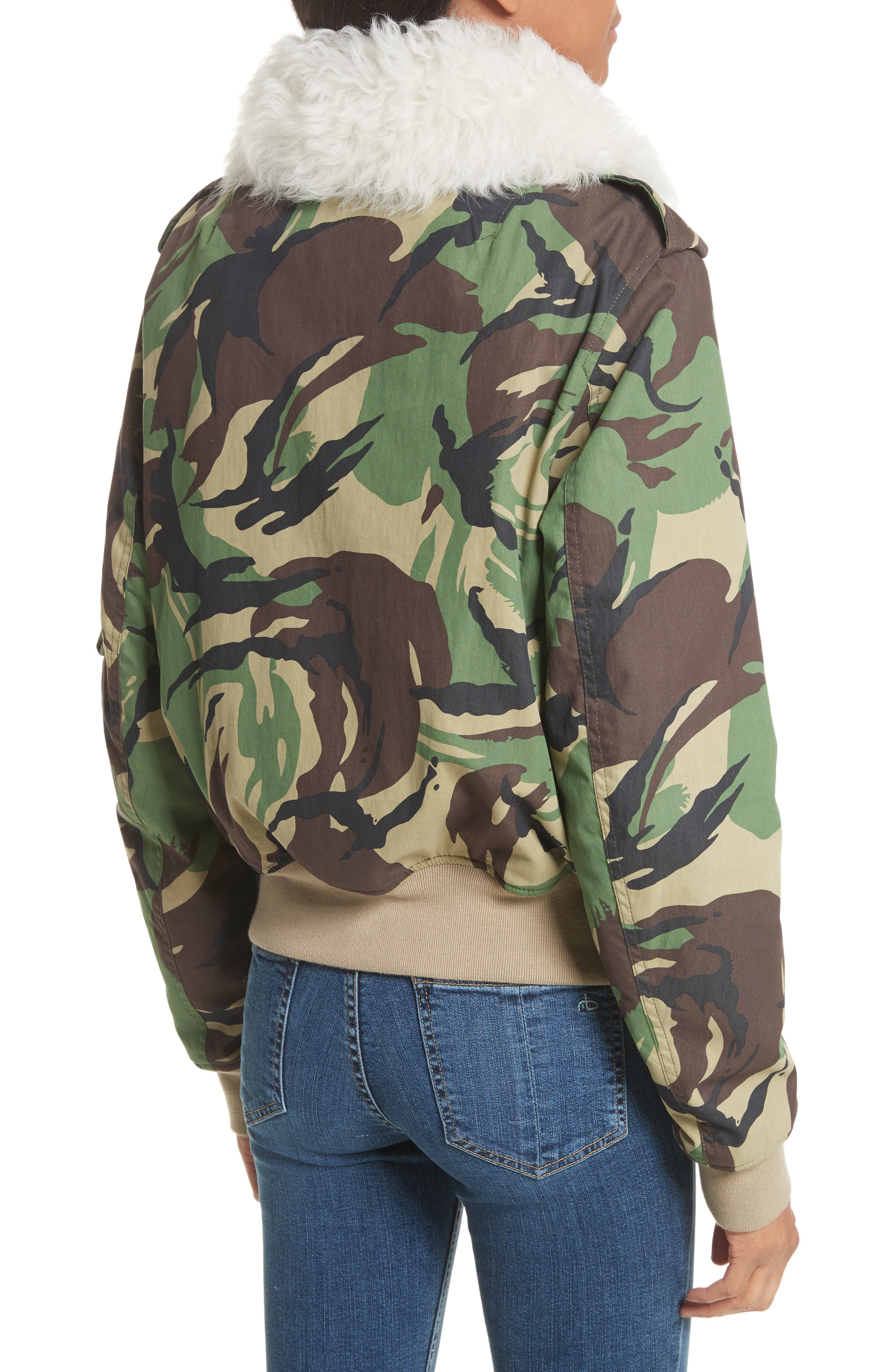 Camo Flight Jacket with Geniune Shearling Collar,                             Alternate thumbnail 3, color,                             300