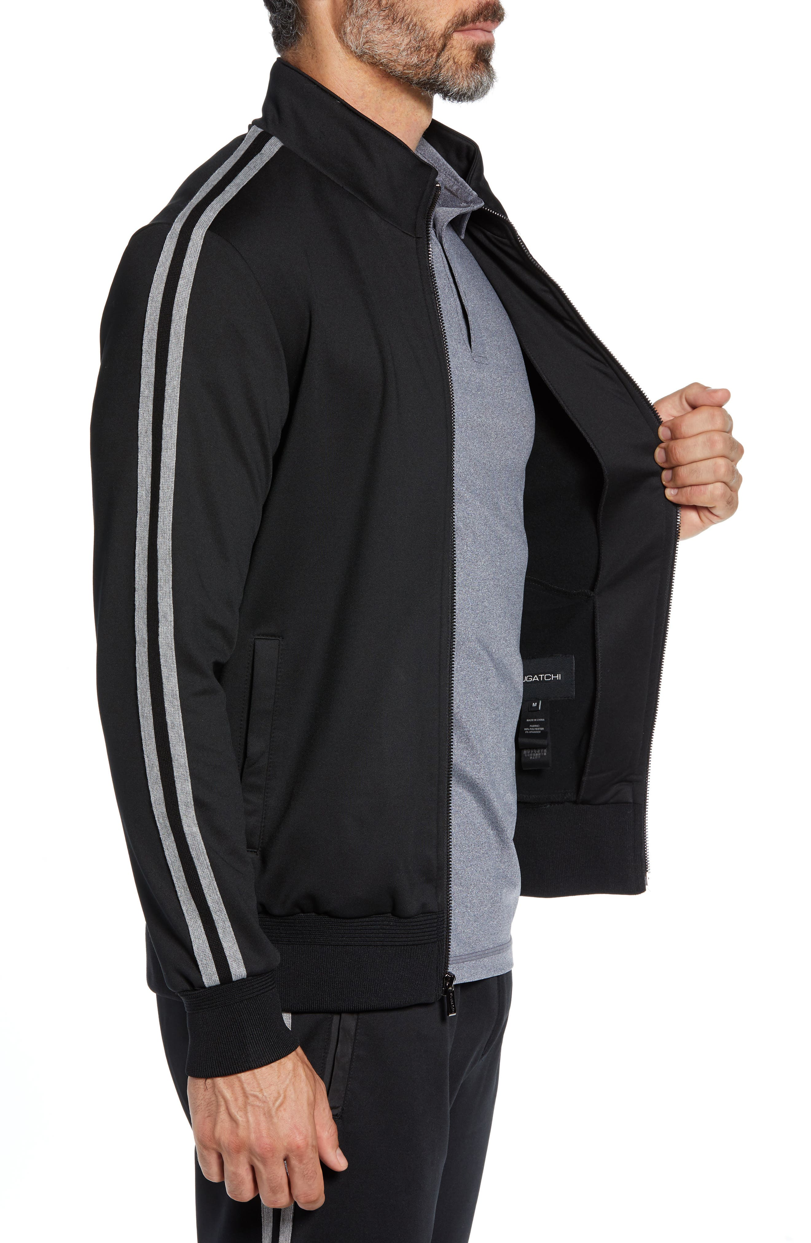 Knit Zip Jacket,                             Alternate thumbnail 3, color,                             BLACK