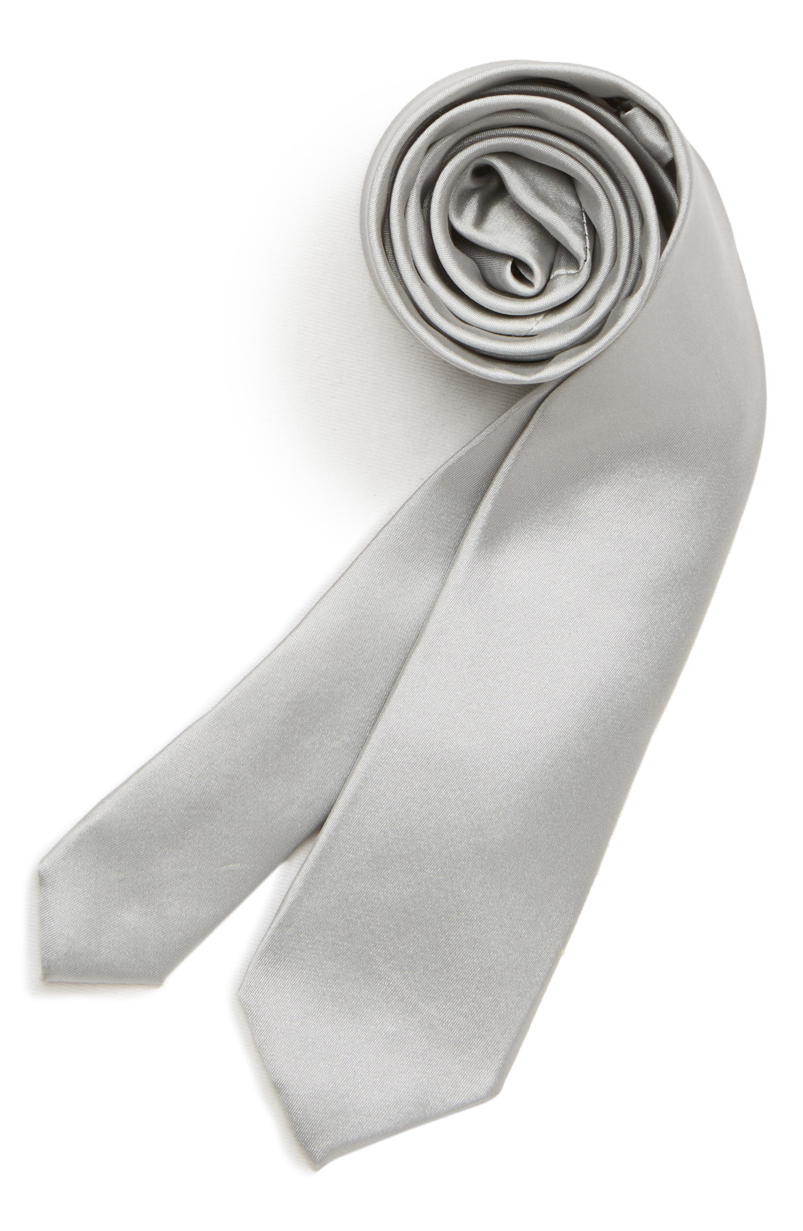 MICHAEL KORS,                             Solid Silk Tie,                             Main thumbnail 1, color,                             SILVER