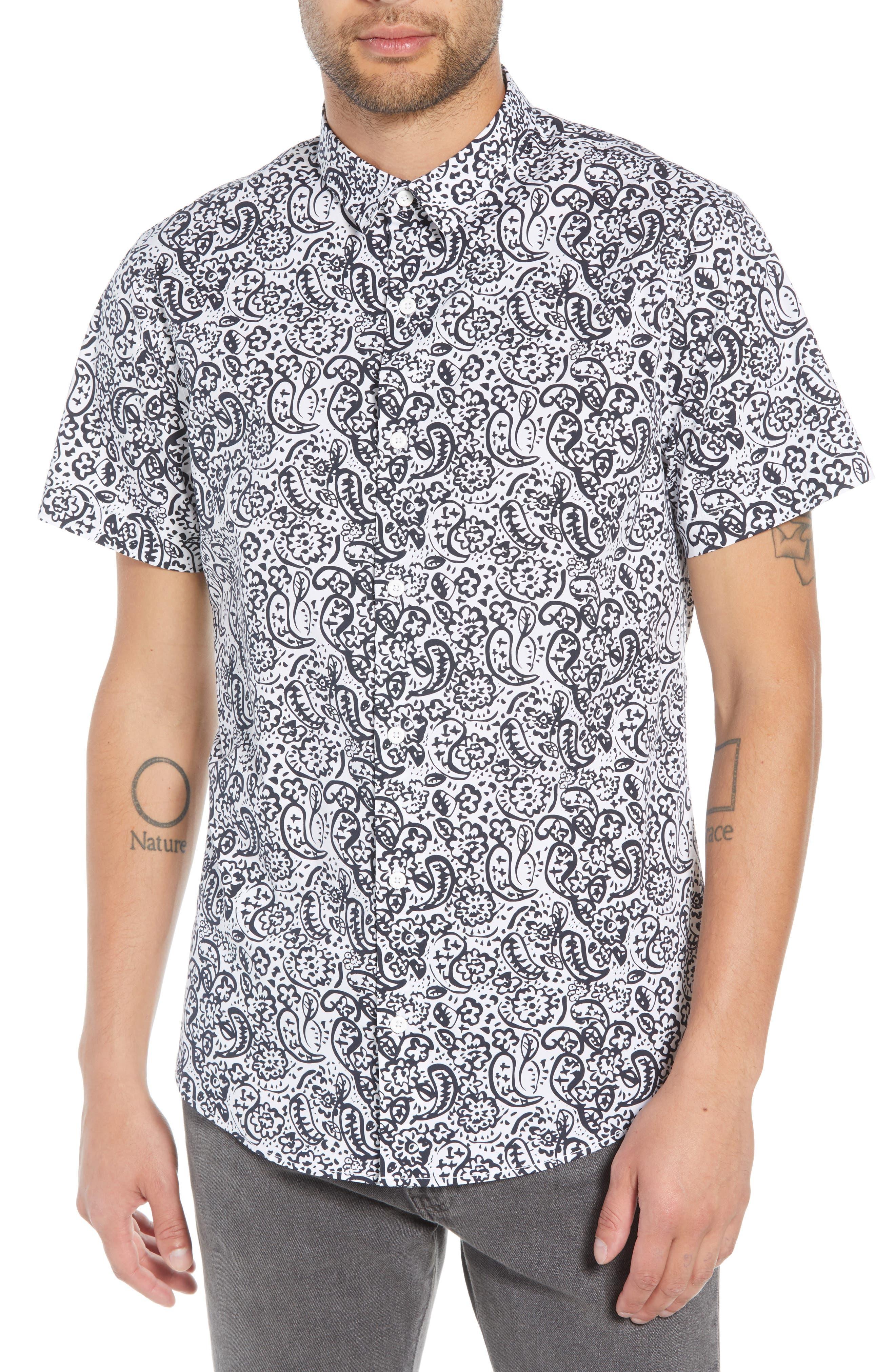 Paisley Print Woven Shirt,                             Main thumbnail 1, color,                             100