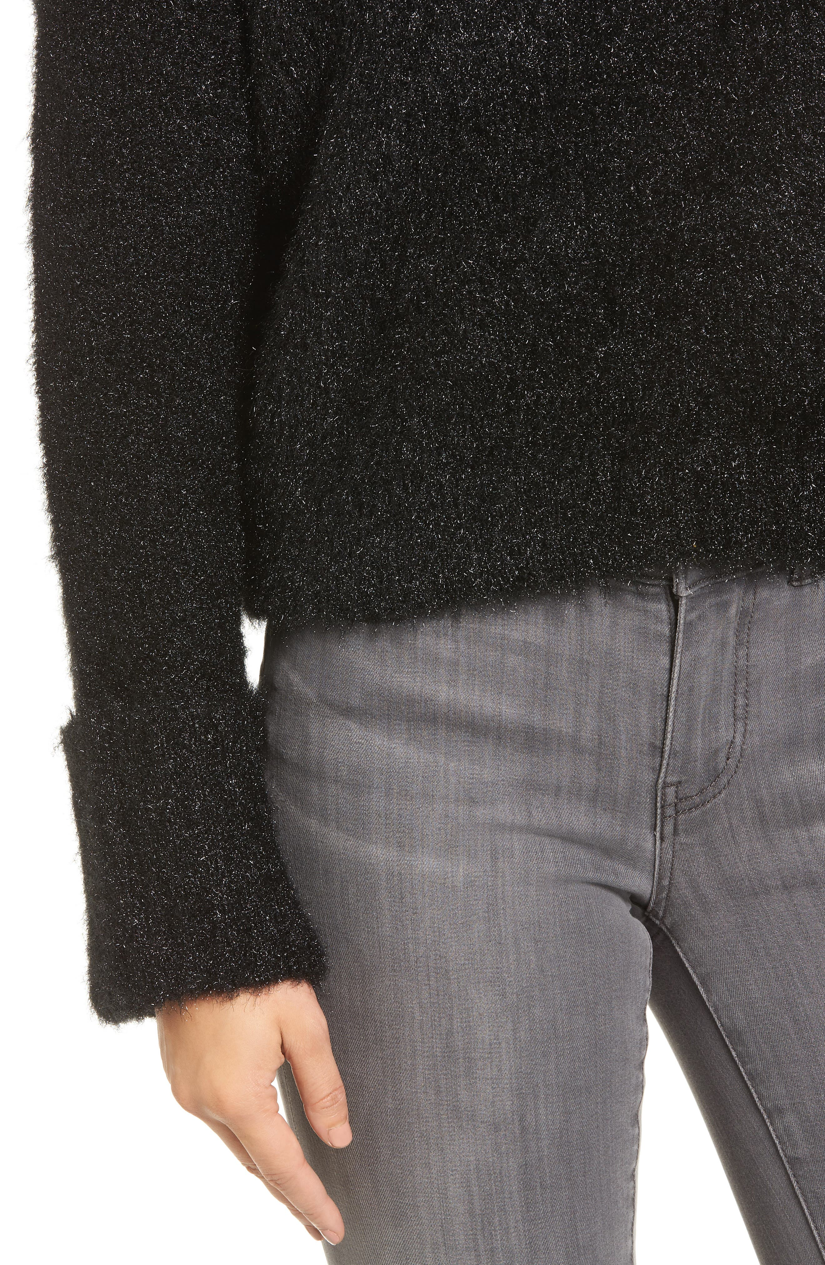Large Cuff Crop Sweater,                             Alternate thumbnail 4, color,                             001