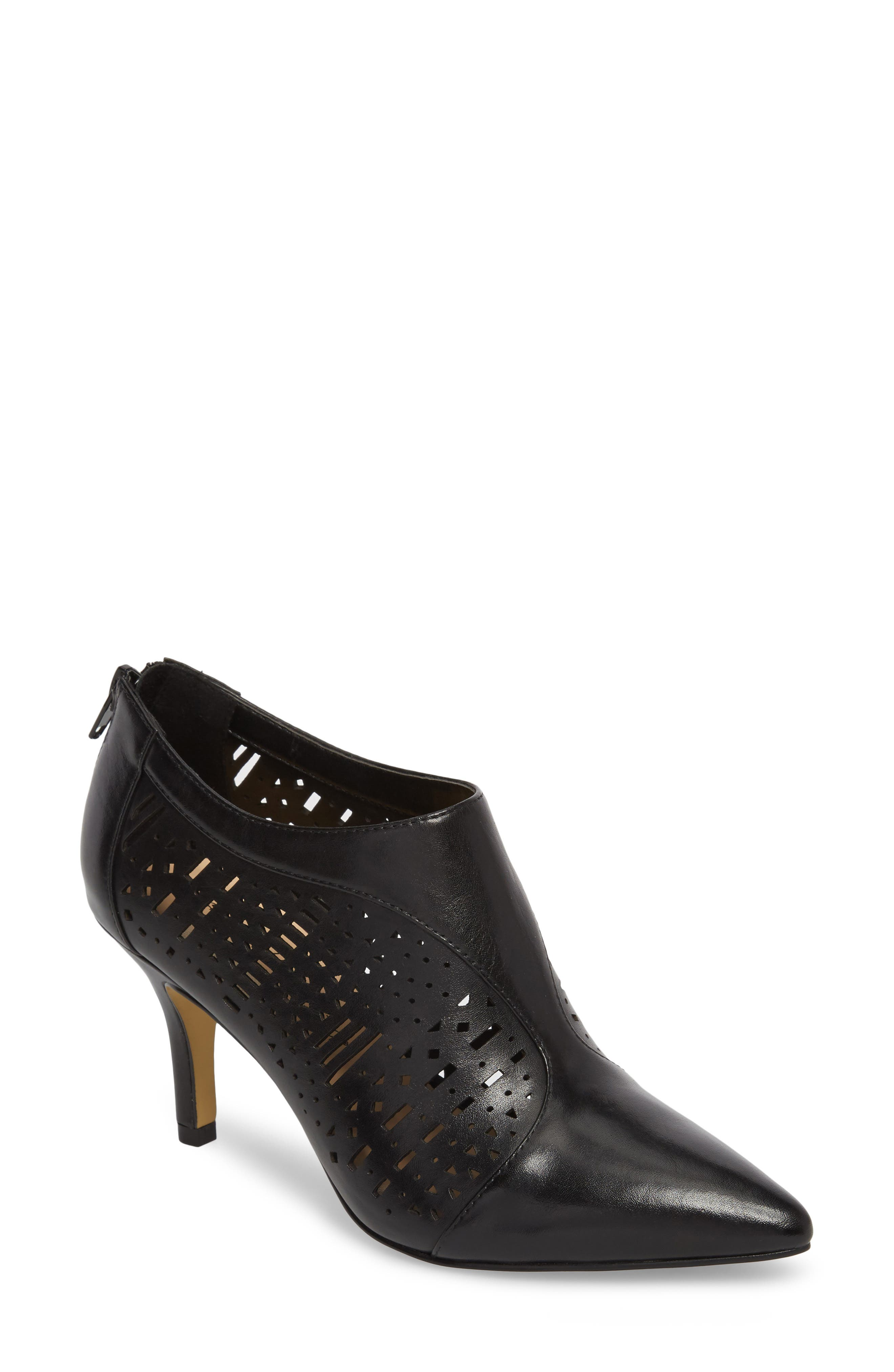 Darlene Laser Perforated Bootie,                             Main thumbnail 1, color,                             001