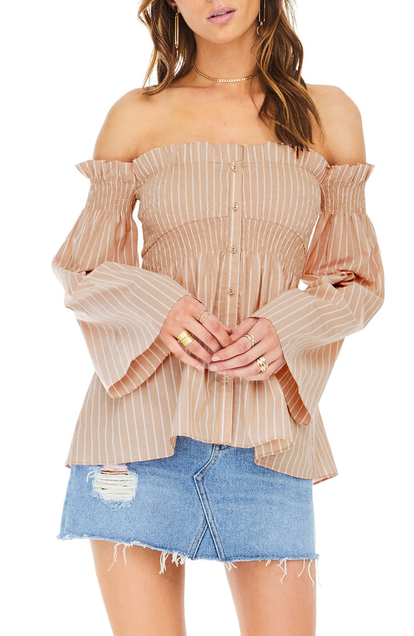 Shelby Off the Shoulder Top,                             Main thumbnail 3, color,