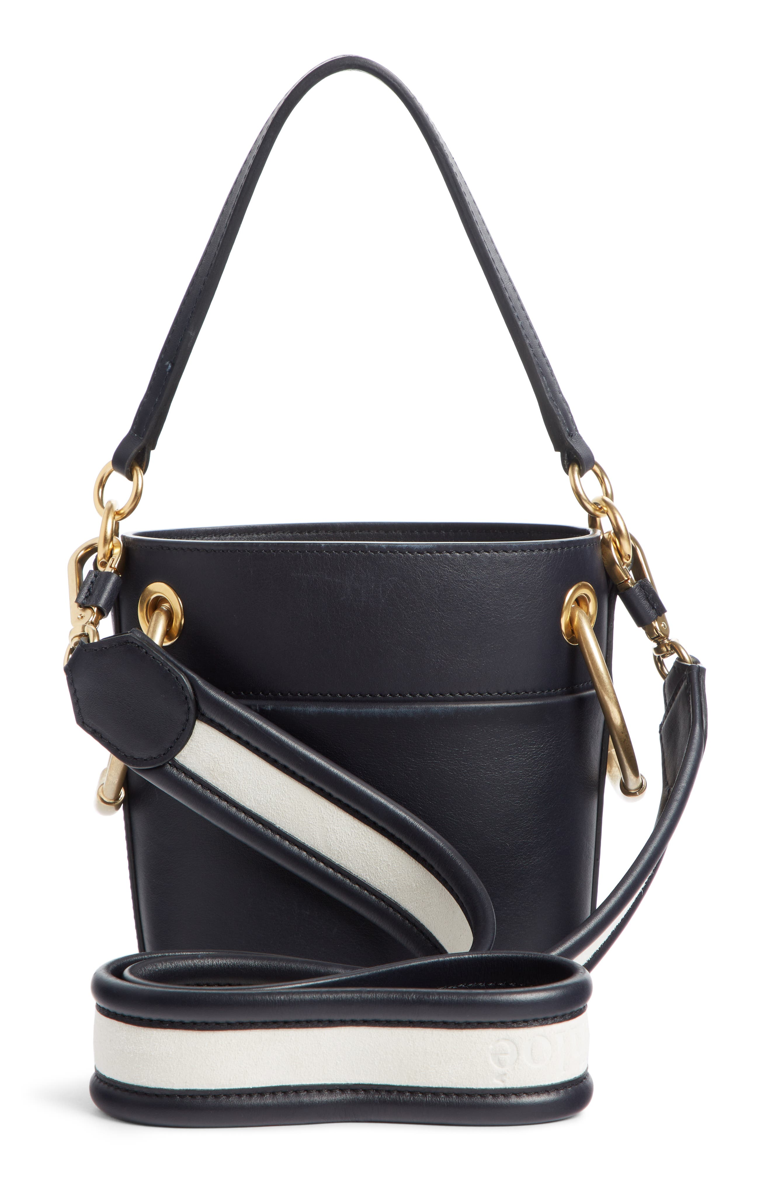 Small Roy Leather Bucket Bag,                             Alternate thumbnail 3, color,                             FULL BLUE