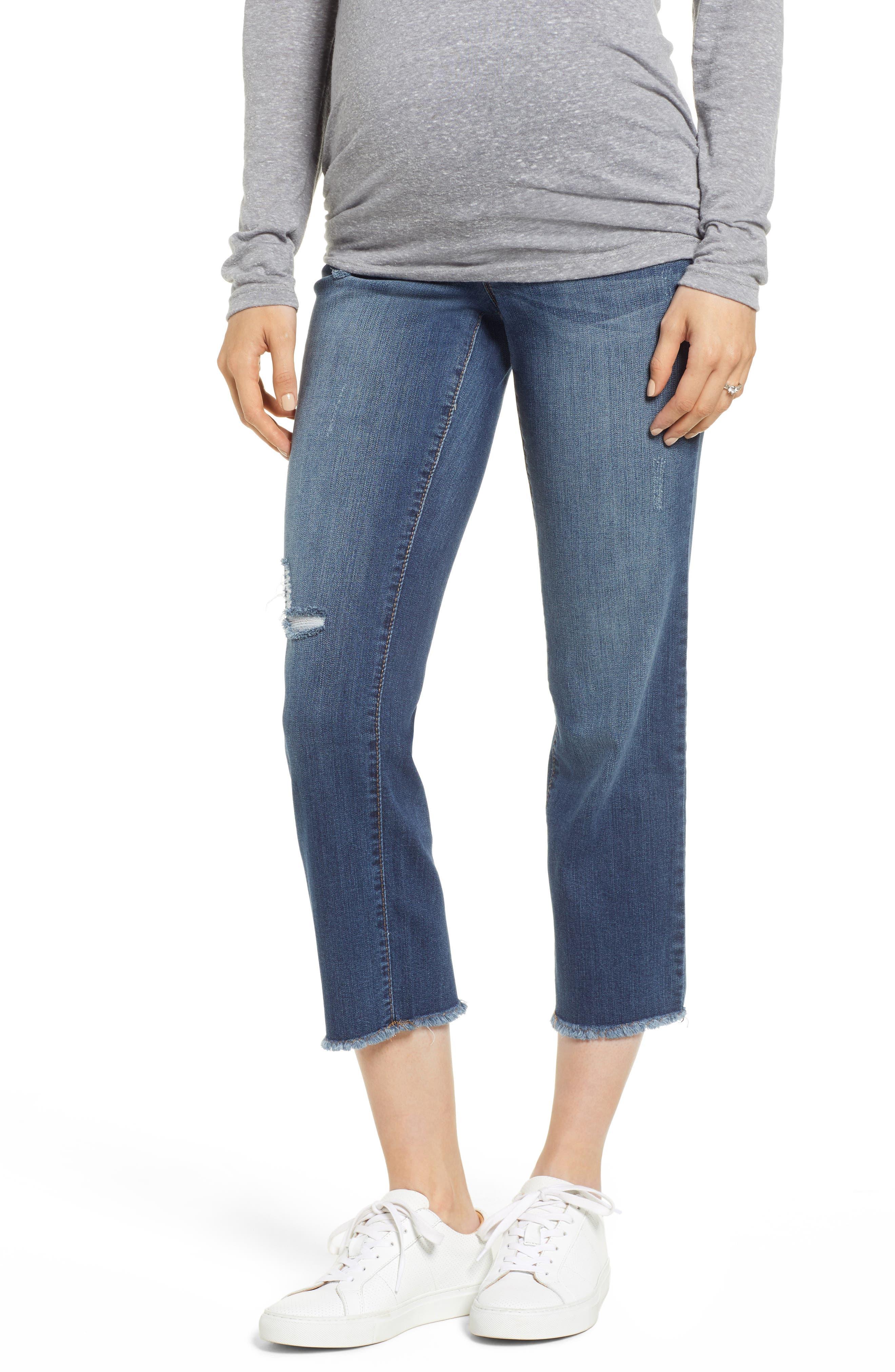 Cassie Crop Straight Leg Maternity Jeans,                             Main thumbnail 1, color,                             CASSIE