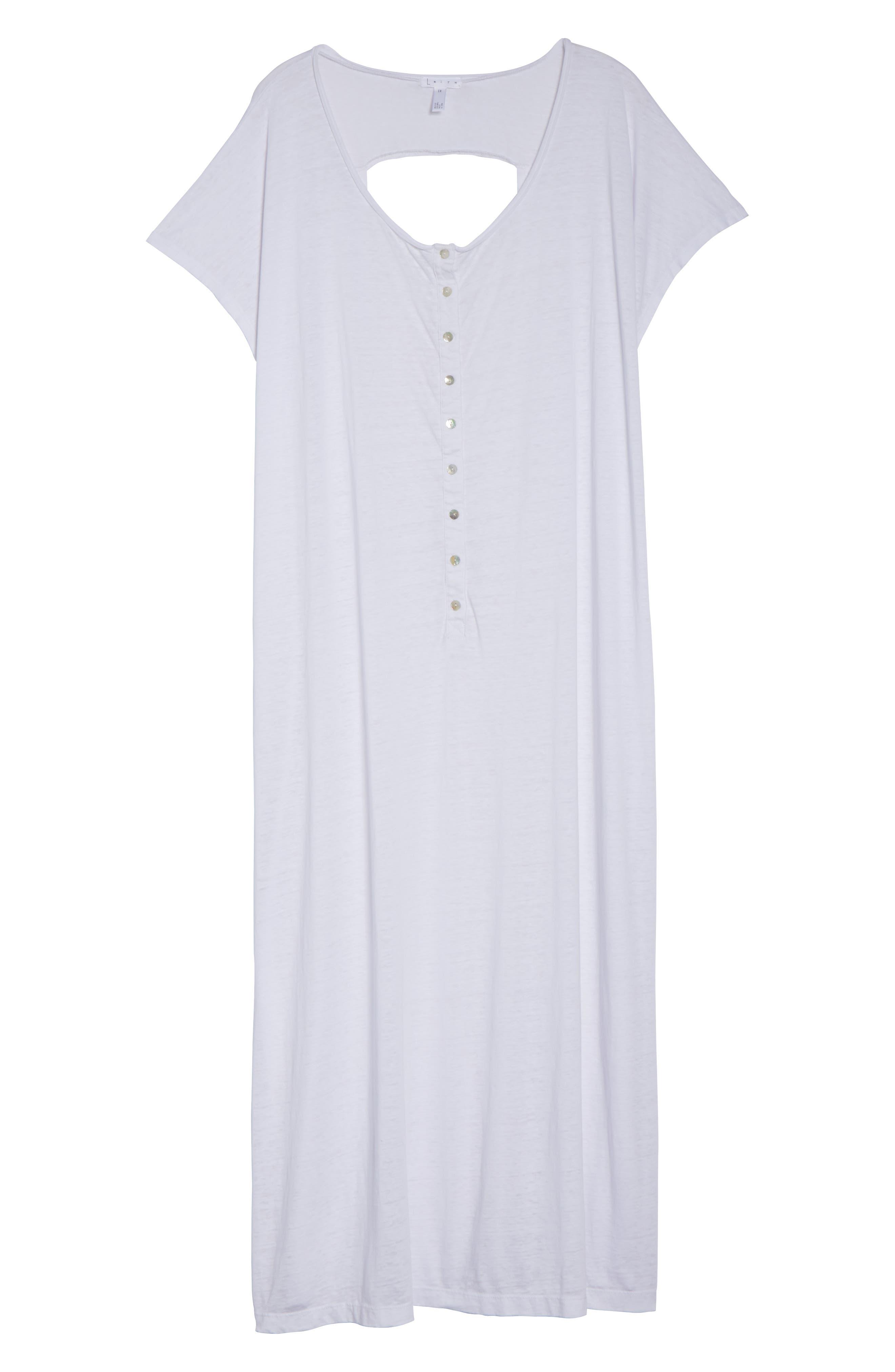 Henley Cover-Up Dress,                             Alternate thumbnail 6, color,                             100