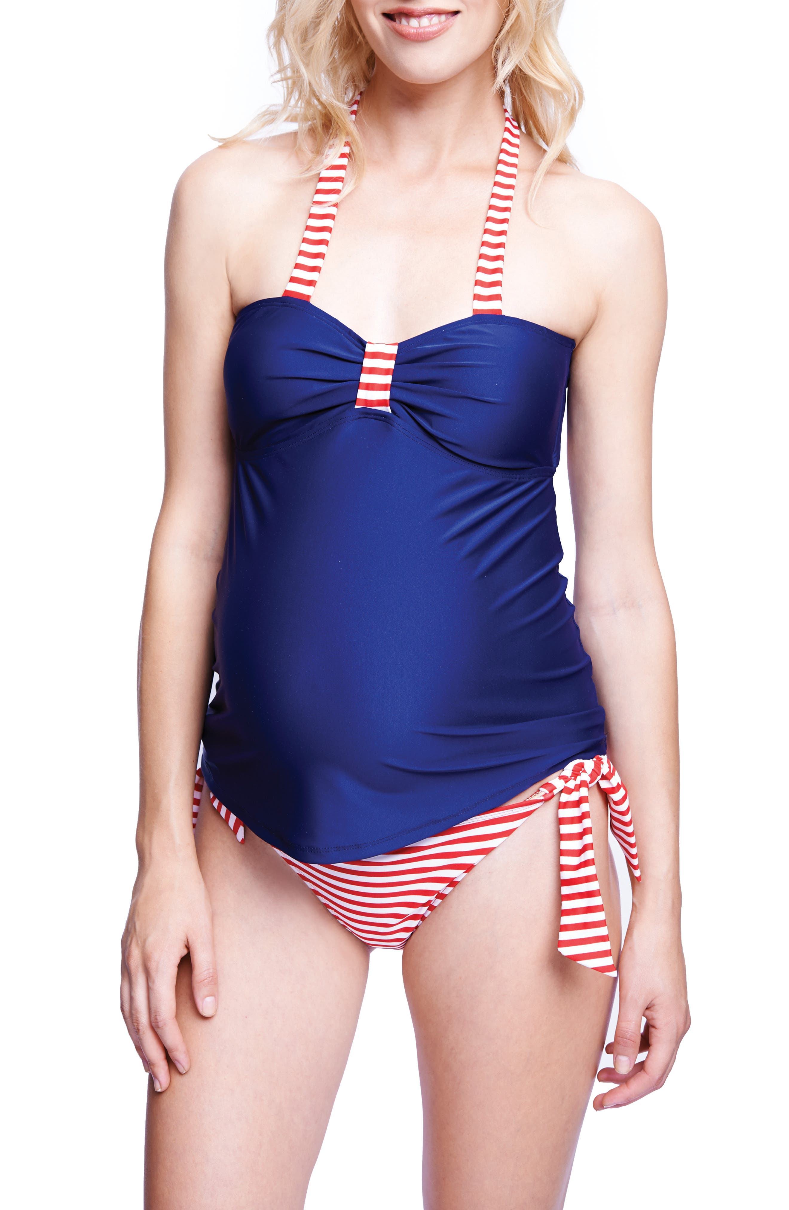 Maternity 'Carrie' Halter Tankini,                             Alternate thumbnail 2, color,                             NAVY/ RED STRIPES
