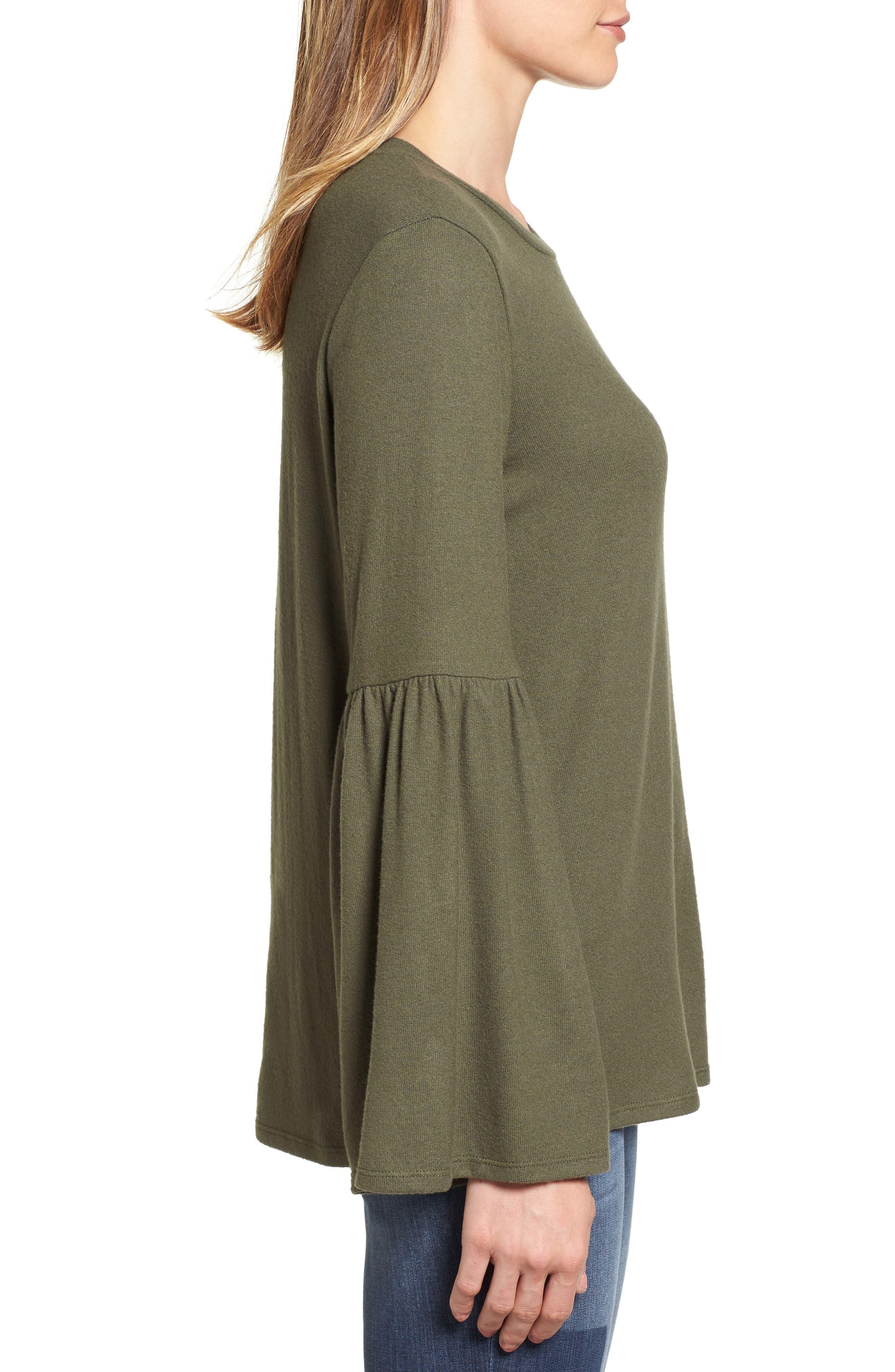 Bell Sleeve Cozy Fleece Pullover,                             Alternate thumbnail 32, color,