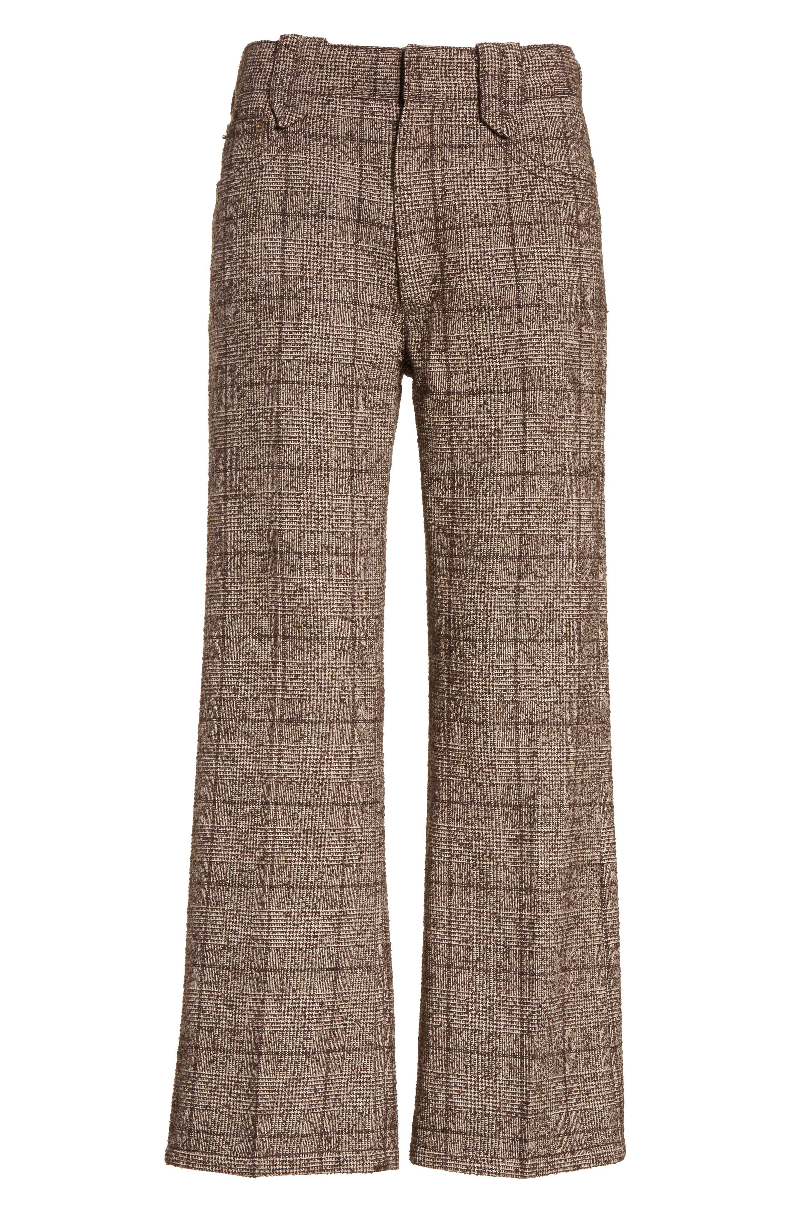 Plaid Tweed Crop Pants,                             Alternate thumbnail 6, color,                             201