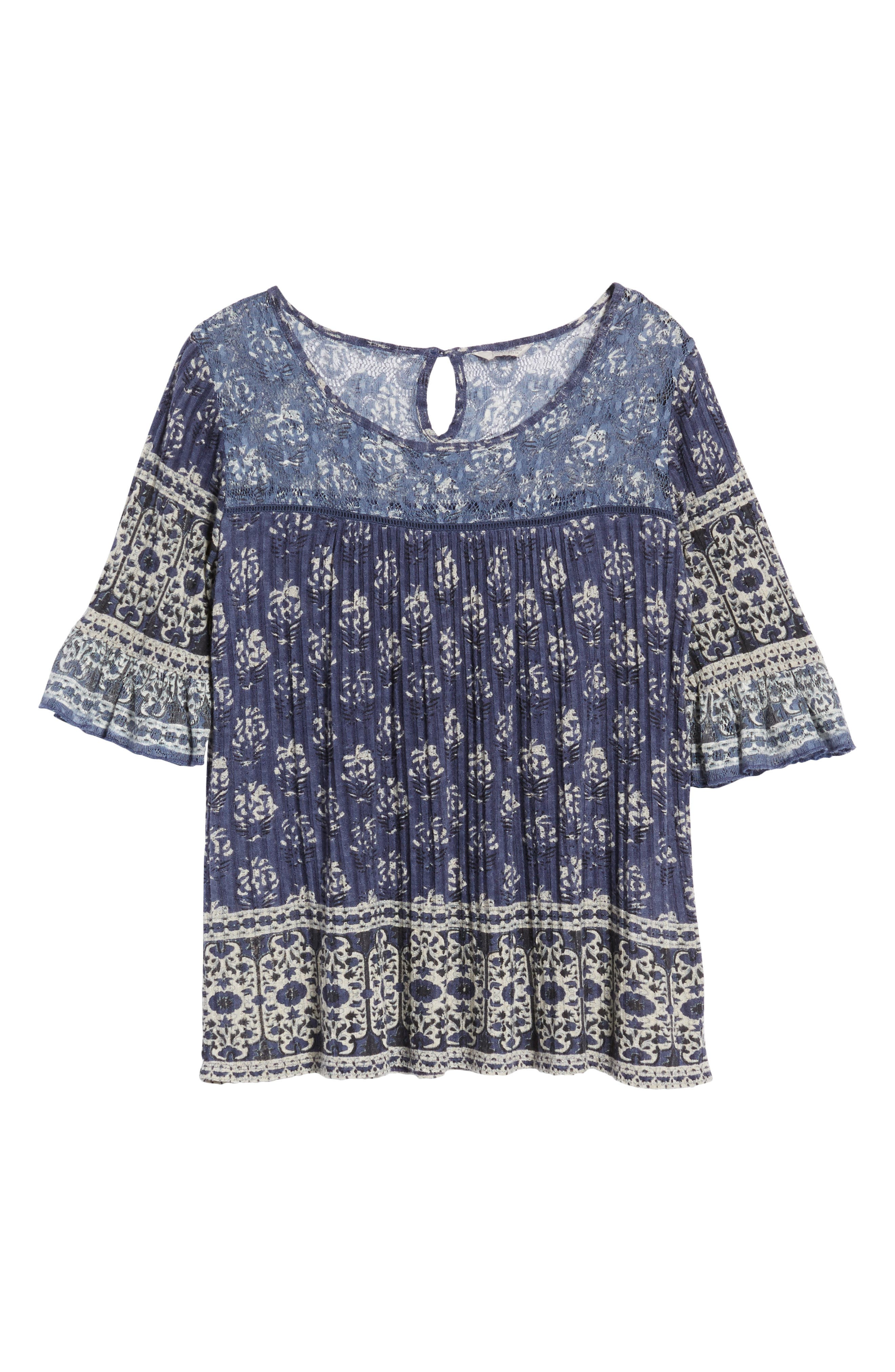 Blue and White Bell Sleeve Top,                             Alternate thumbnail 6, color,                             460