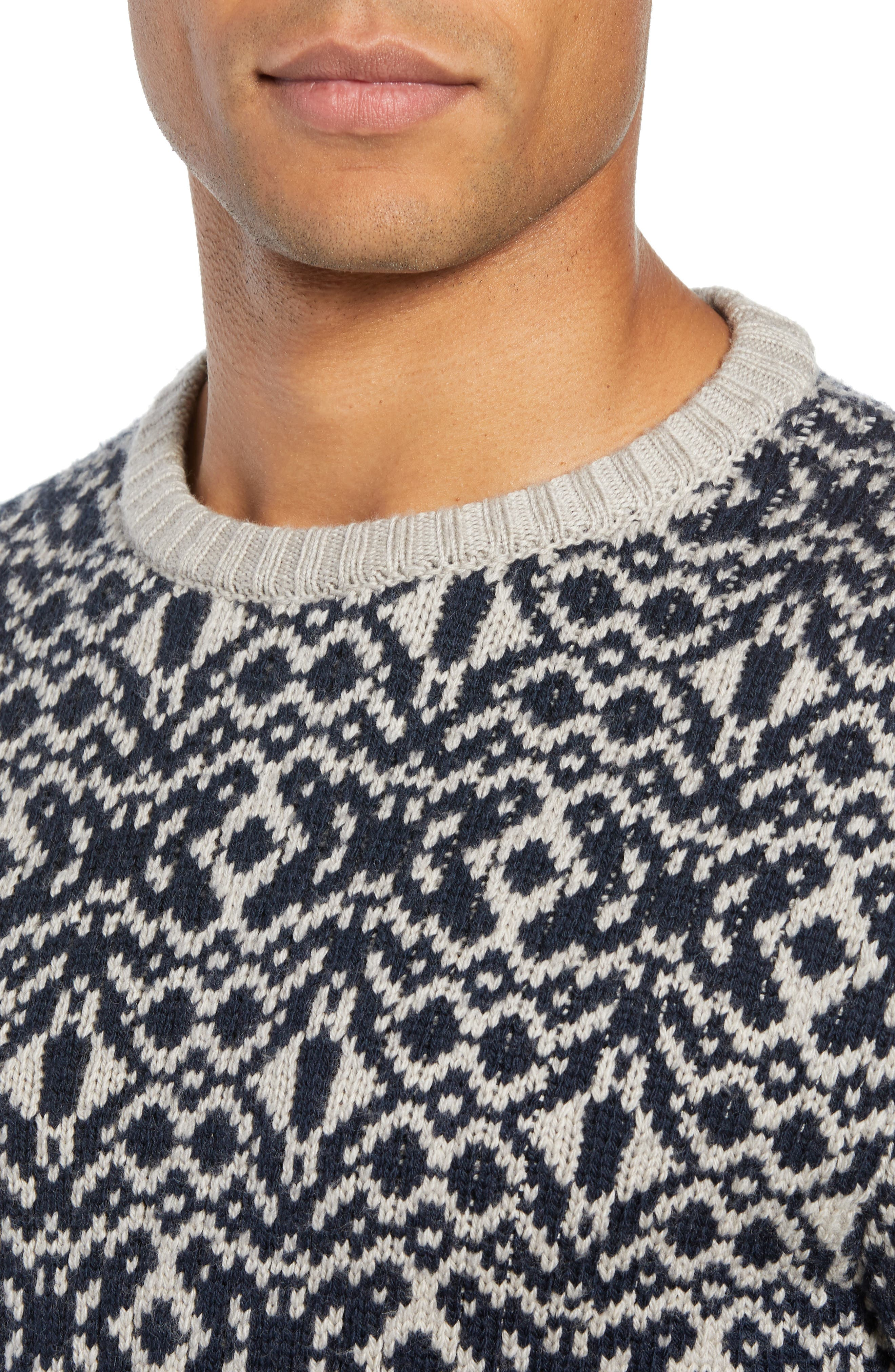 Patterned Wool Crewneck Sweater,                             Alternate thumbnail 4, color,                             STONE
