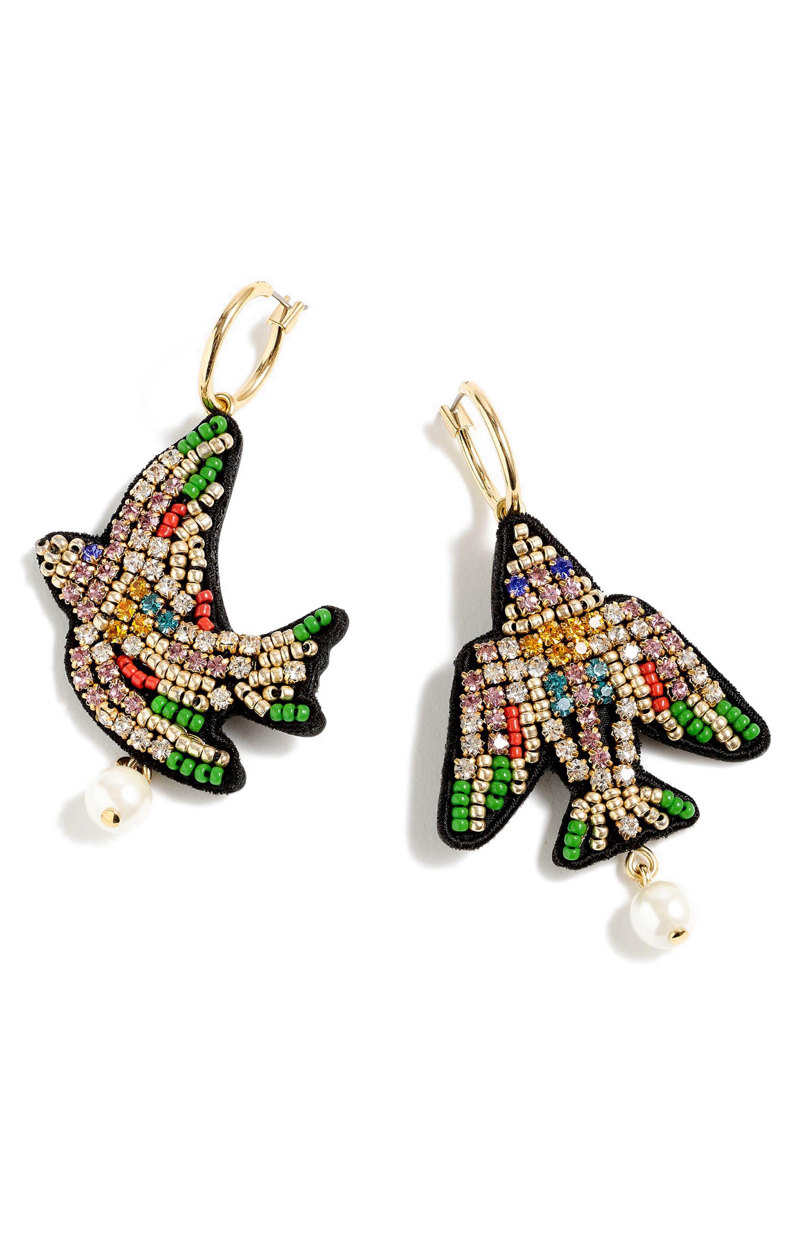 Leather-Backed Beaded Bird Earrings,                             Main thumbnail 1, color,                             GREEN MULTI