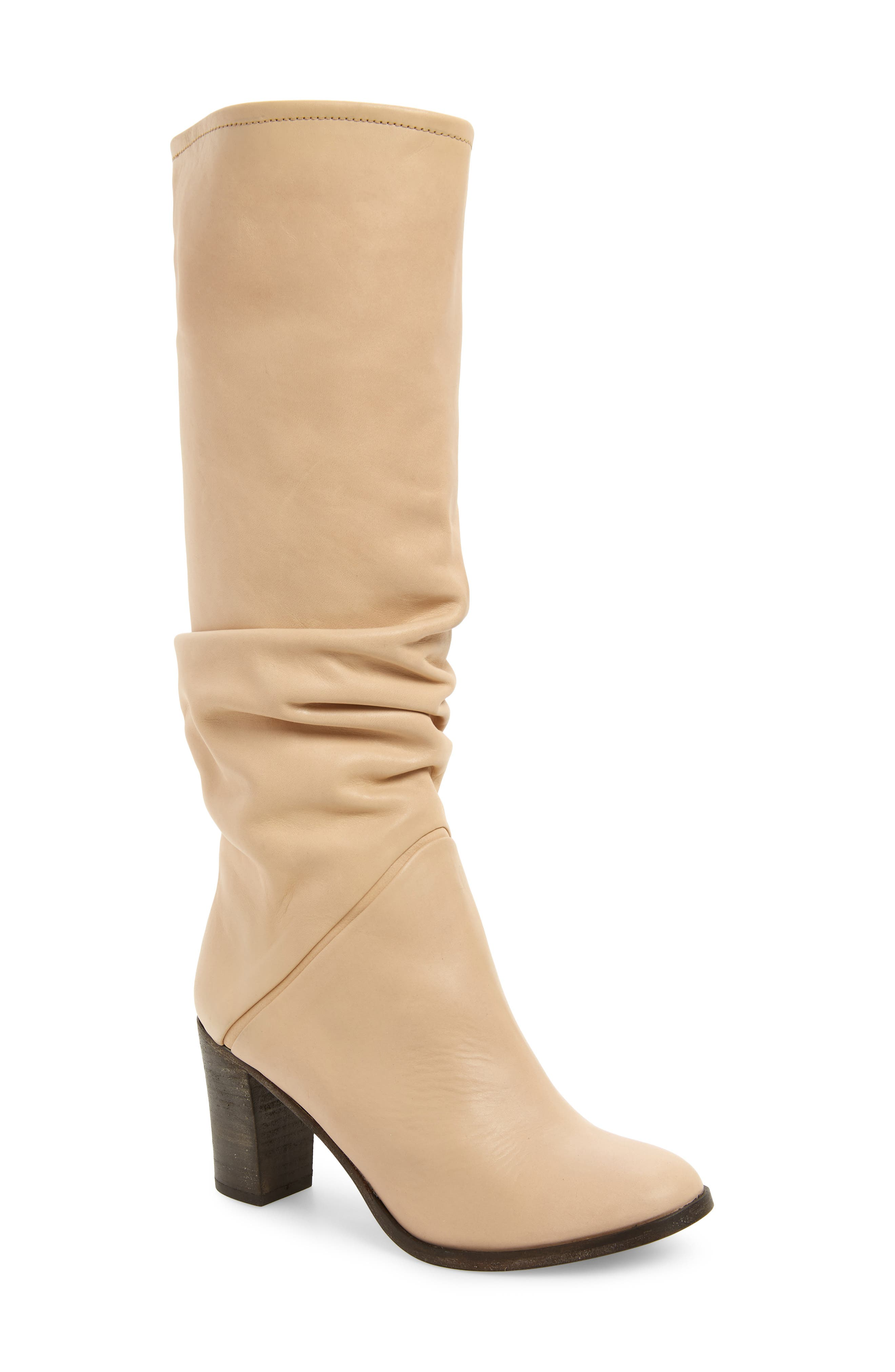Tennison Knee High Boot,                             Main thumbnail 1, color,                             BEIGE LEATHER