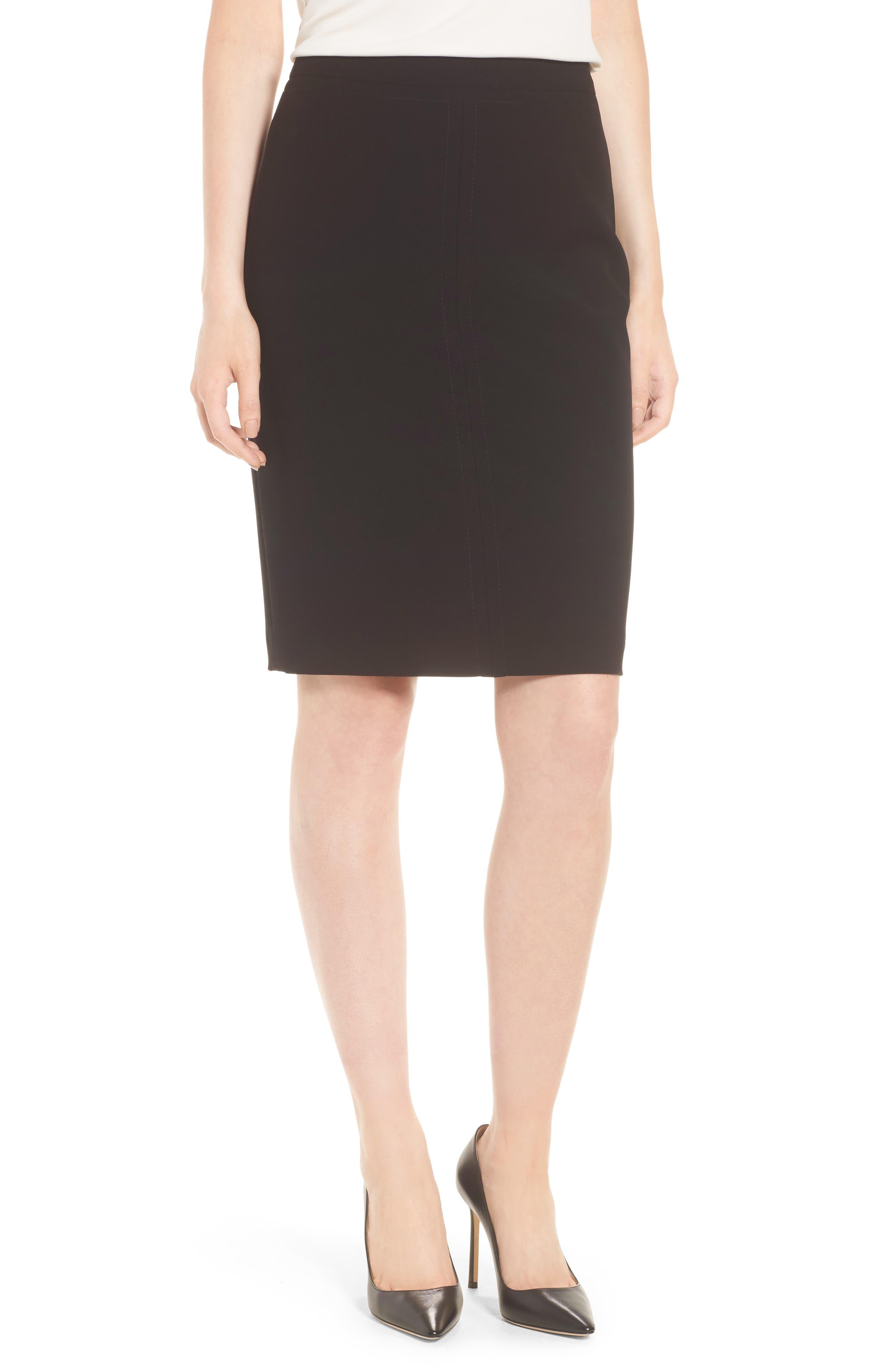 BOSS Vuriona Pencil Skirt, Main, color, 001