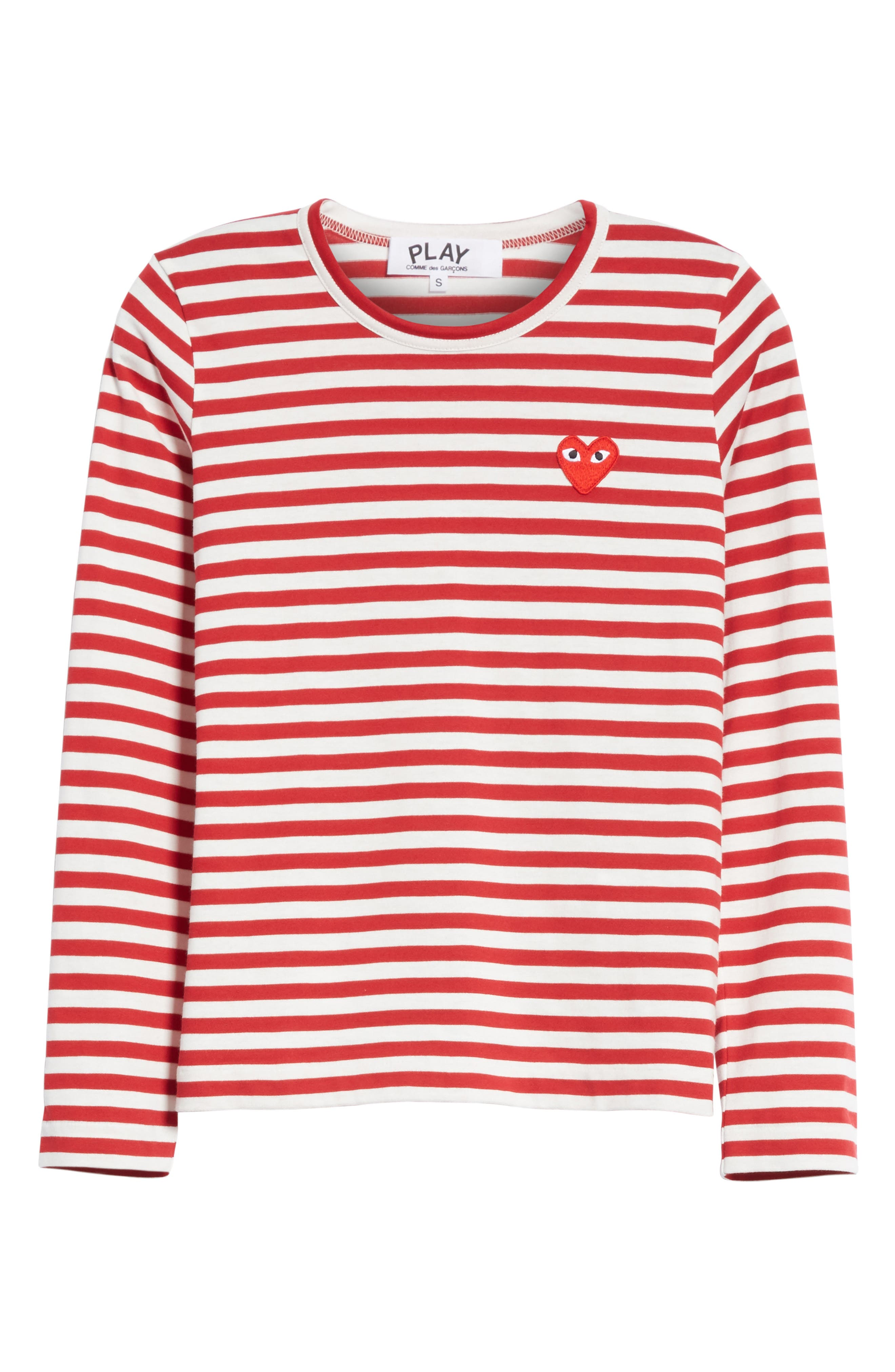 Stripe Cotton Tee,                             Alternate thumbnail 6, color,                             RED/ WHITE