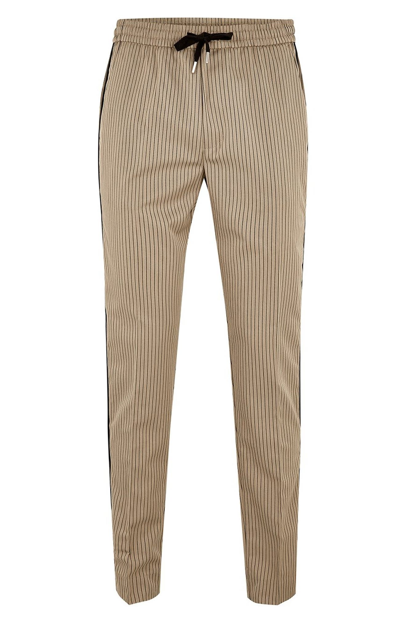 Slim Fit Pinstripe Jogger Pants,                             Alternate thumbnail 4, color,                             LIGHT BROWN