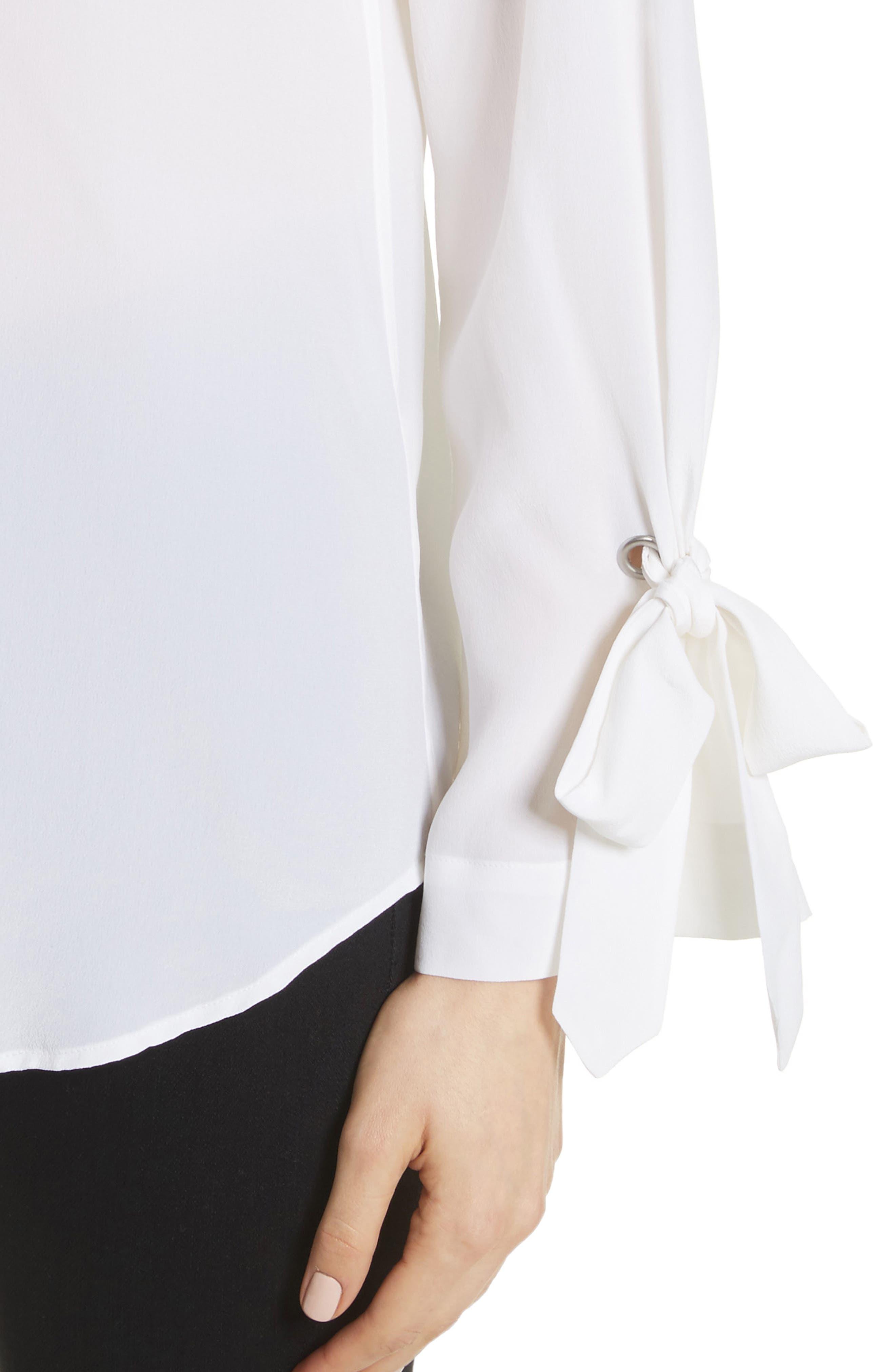 Sayer Tie Sleeve Silk Top,                             Alternate thumbnail 8, color,