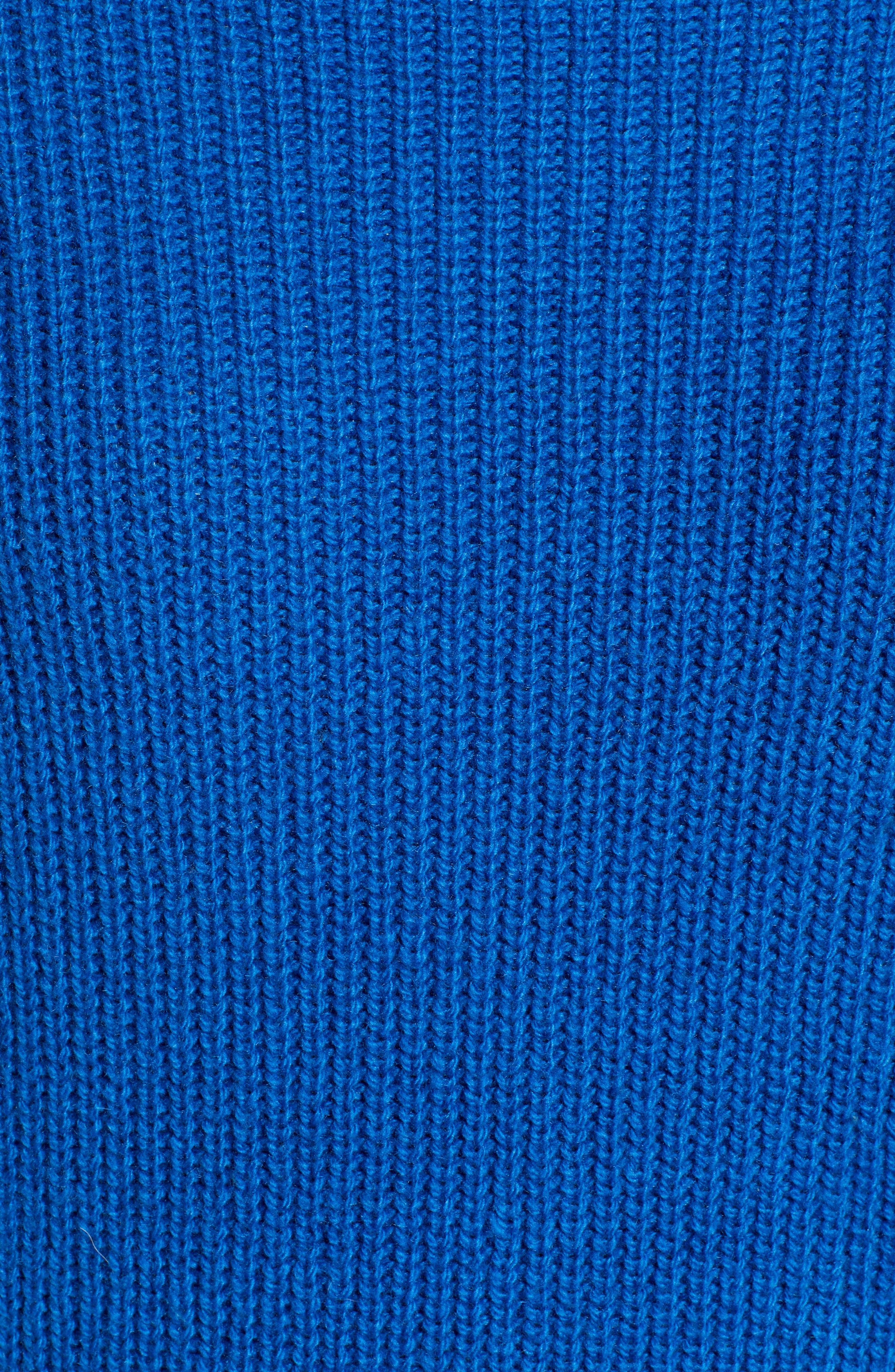 Ribbed Funnel Neck Sweater,                             Alternate thumbnail 5, color,                             BLUE CLASSICS