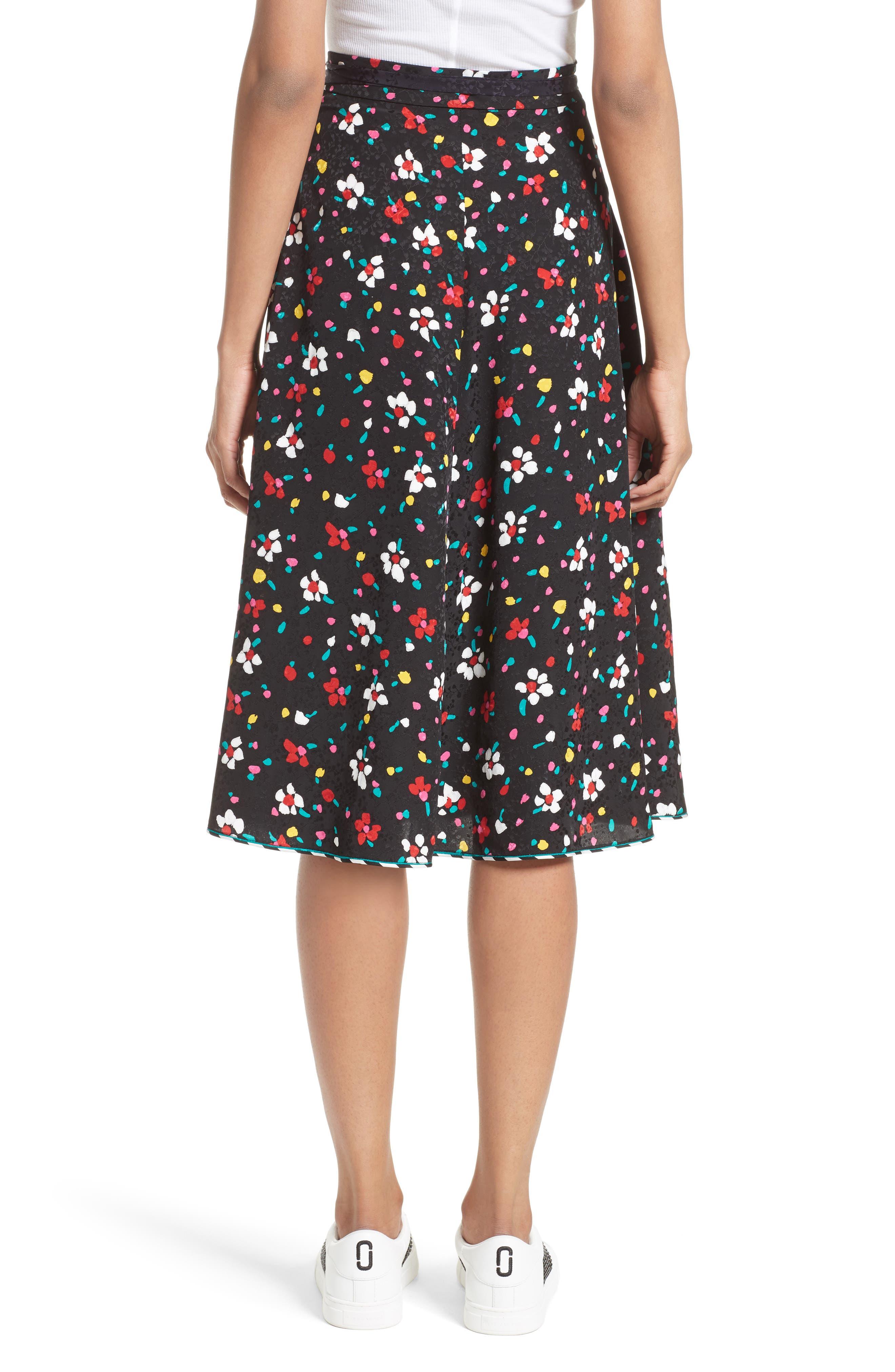 Floral Silk Jacquard Wrap Skirt,                             Alternate thumbnail 2, color,                             002