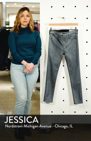 High Waist Ankle Coated Skinny Jeans, sales video thumbnail
