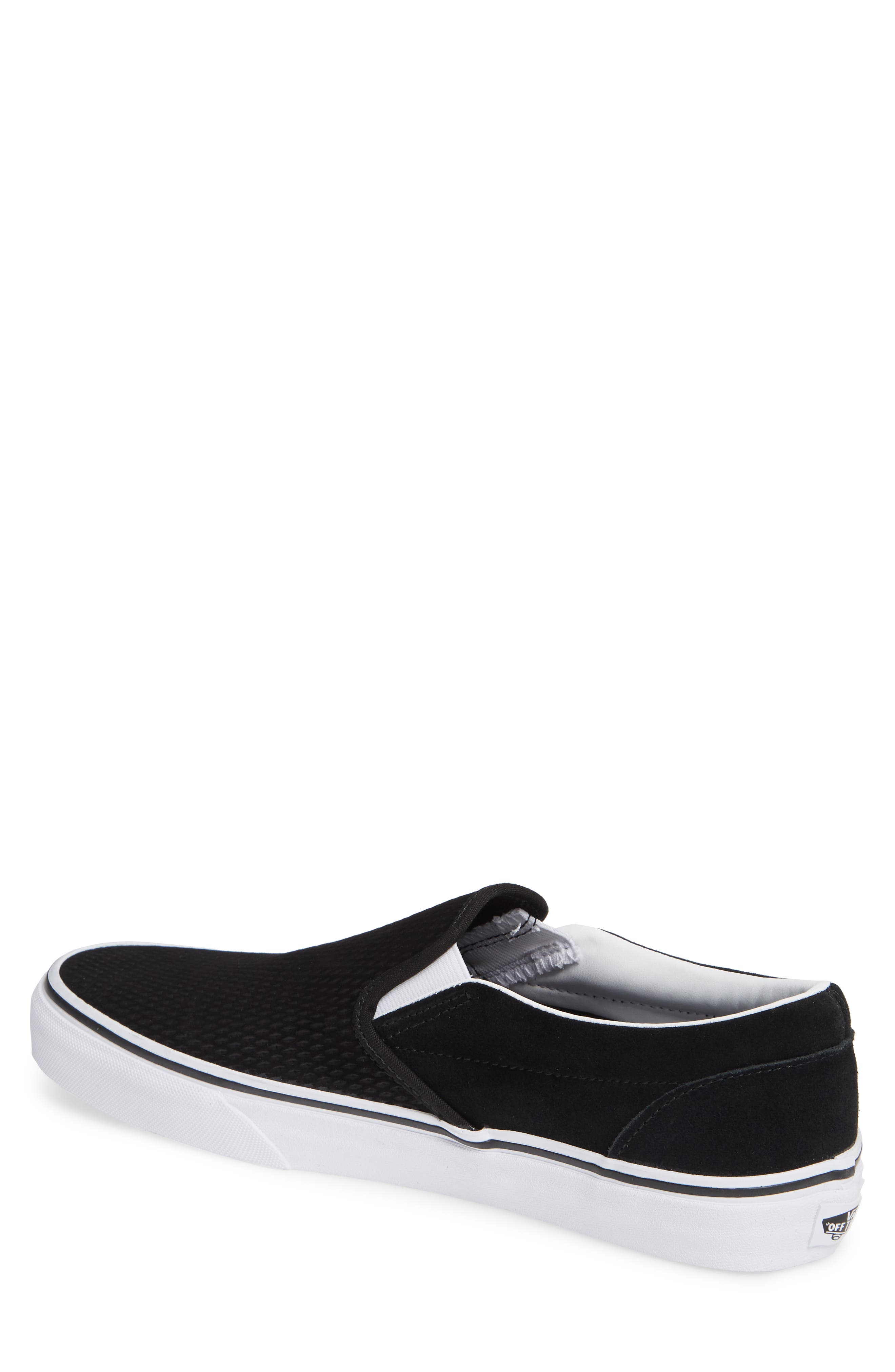 Classic Embossed Suede Slip-On,                             Alternate thumbnail 2, color,                             BLACK/ TRUE WHITE SUEDE