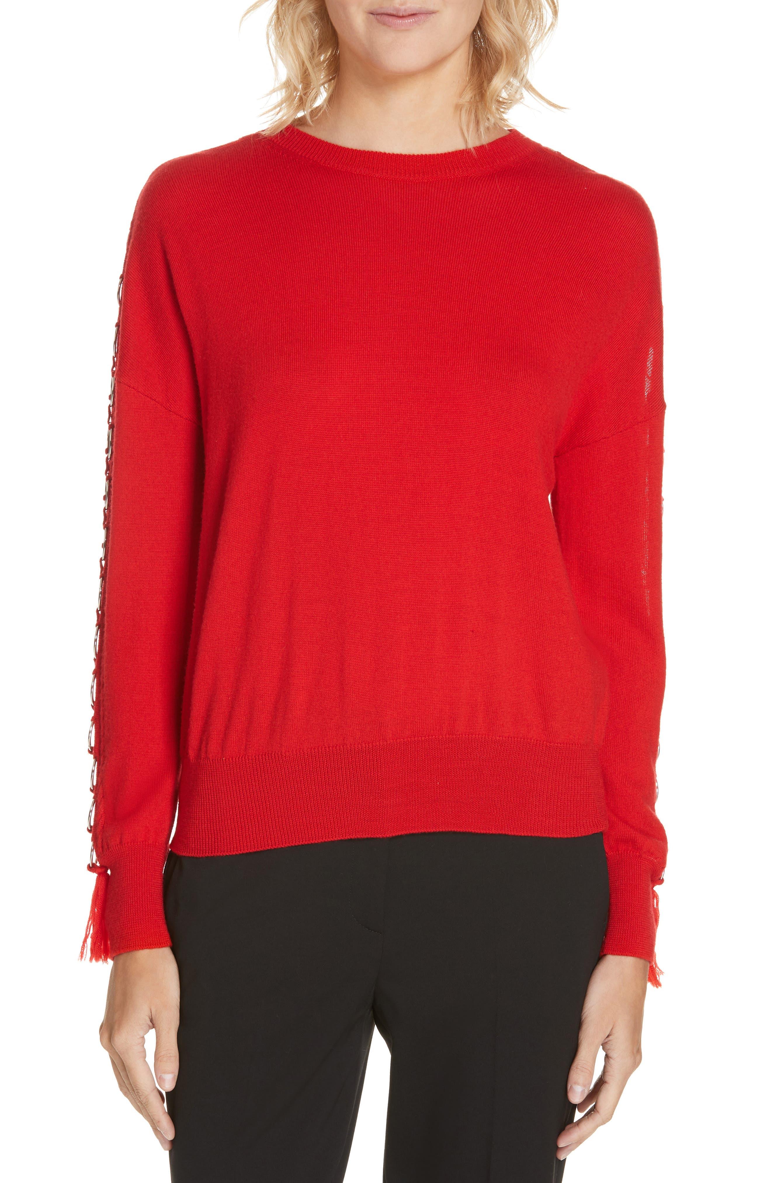 Wool Open-Sleeve O-Ring Tassel Sweater in Fire Red