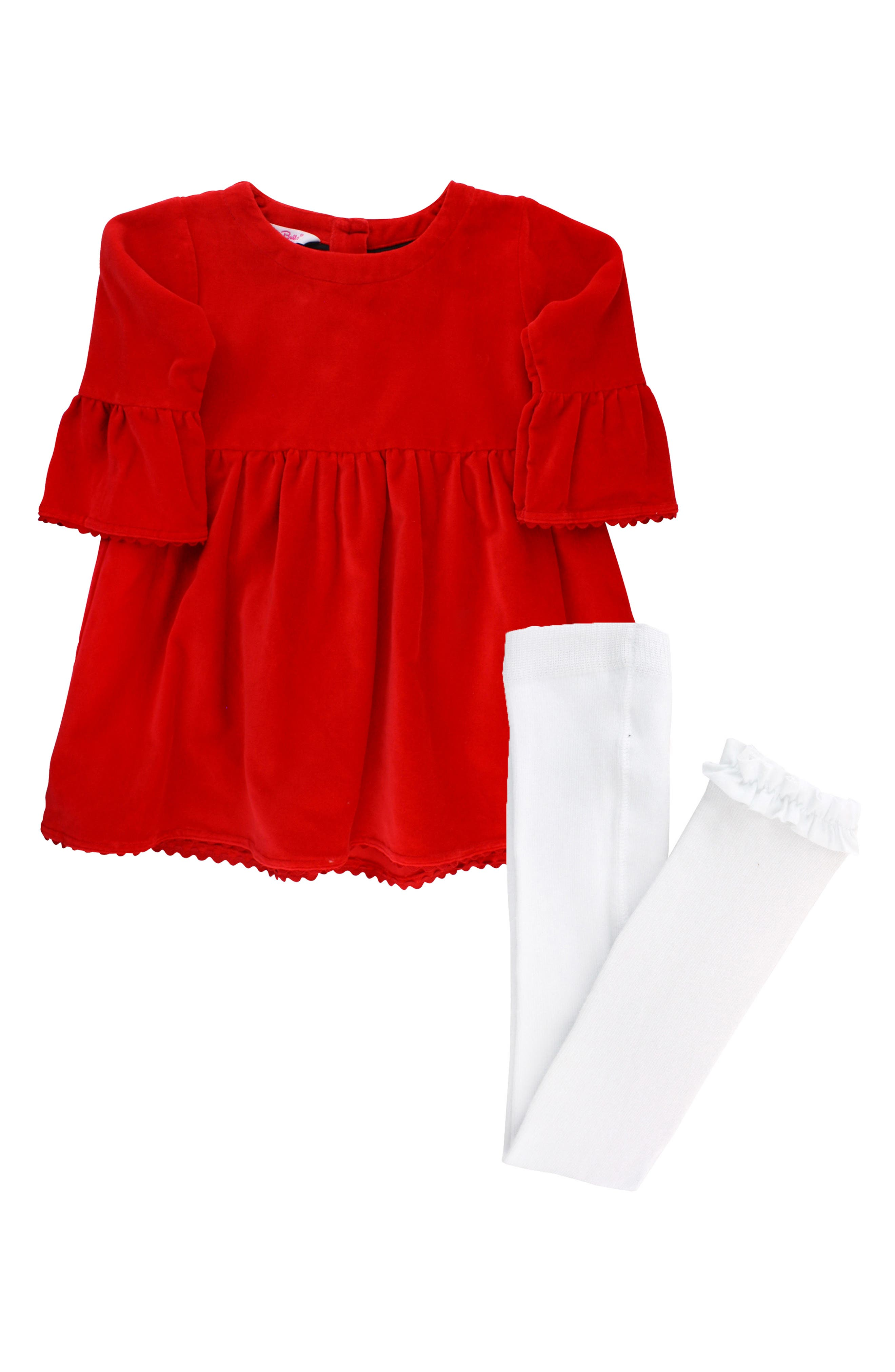 Velveteen Dress & Ruffle Tights Set,                             Main thumbnail 1, color,                             RED