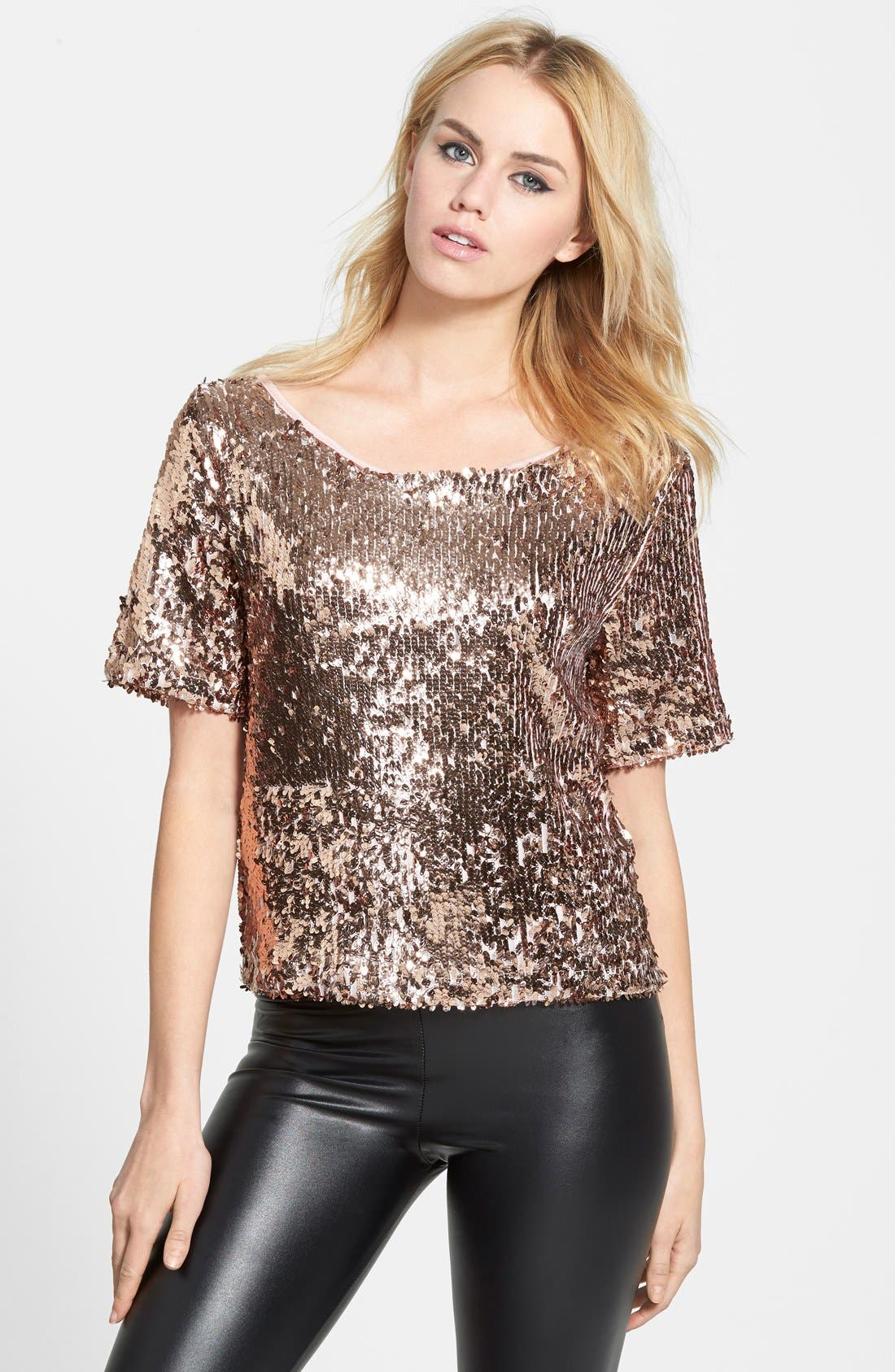 Short Sleeve Sequin Top, Main, color, 220