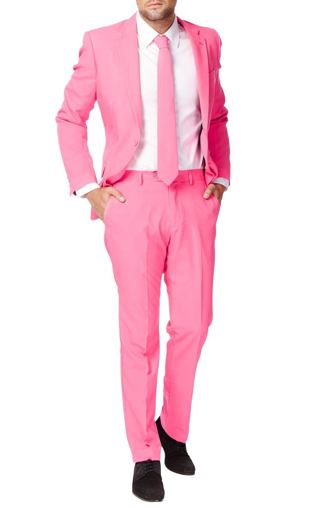 'Mr. Pink' Trim Fit Two-Piece Suit with Tie,                             Main thumbnail 1, color,                             650