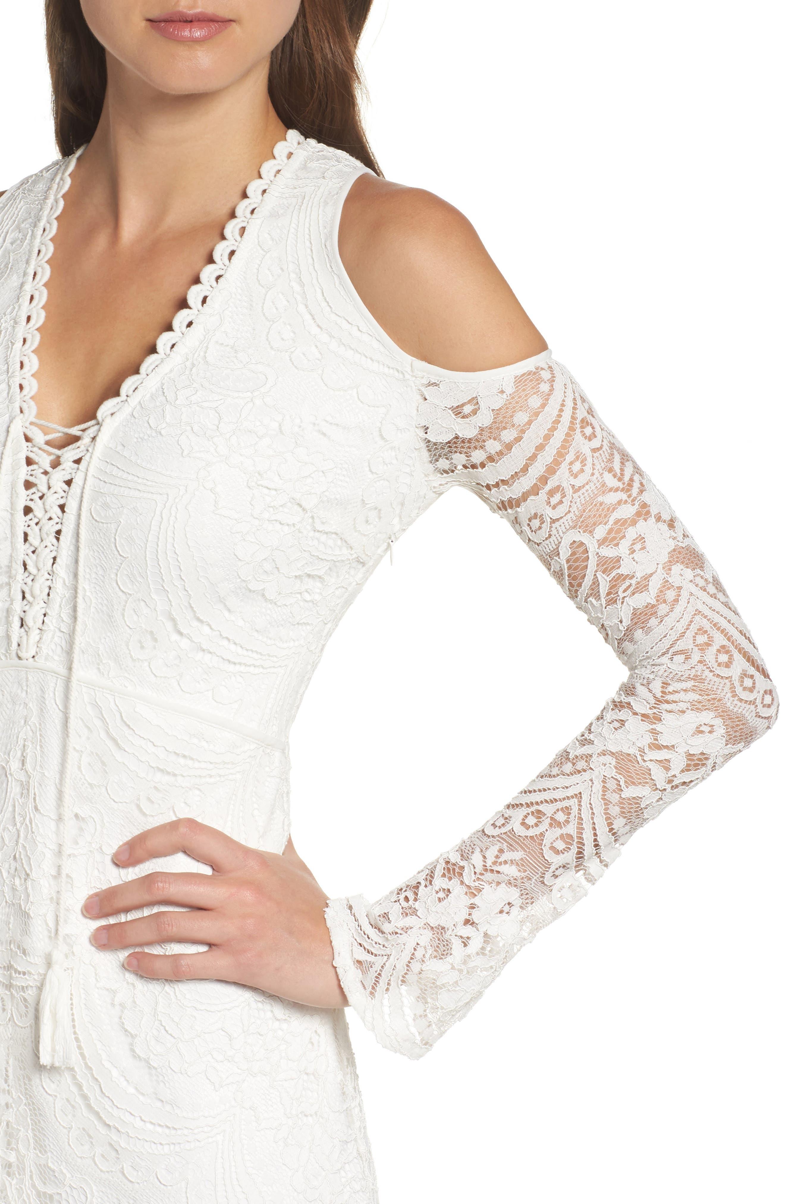 Lace-Up Cold Shoulder Gown,                             Alternate thumbnail 4, color,                             100