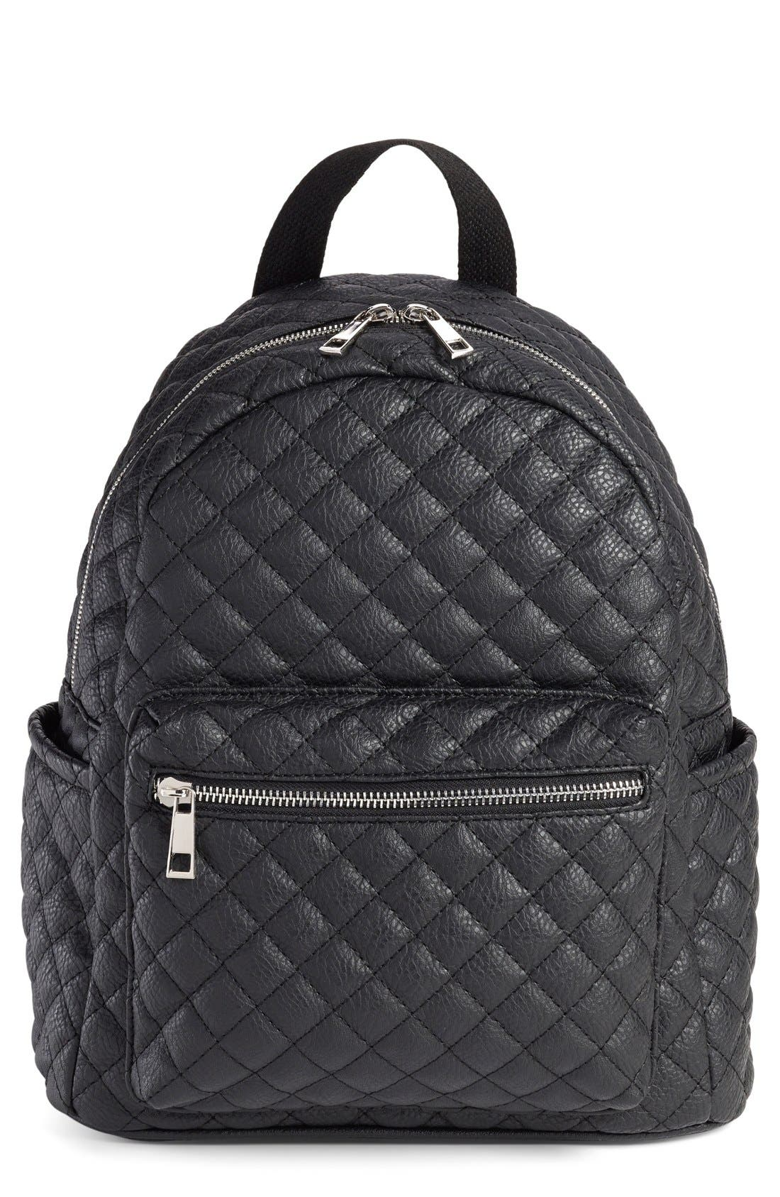 Faux Leather Quilted Backpack,                             Main thumbnail 1, color,