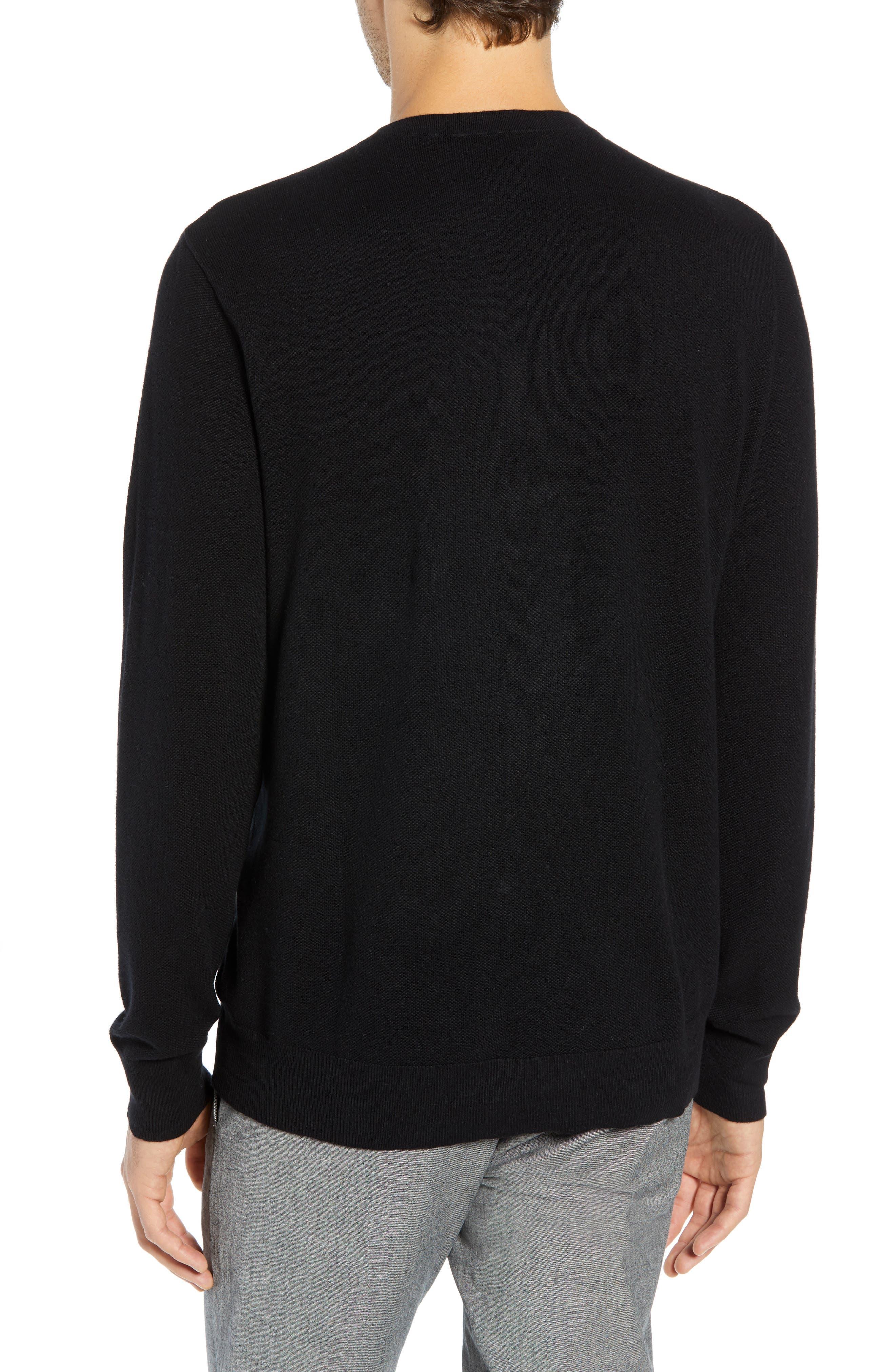 Cotton & Cashmere Piqué Crewneck Sweater,                             Alternate thumbnail 2, color,                             001