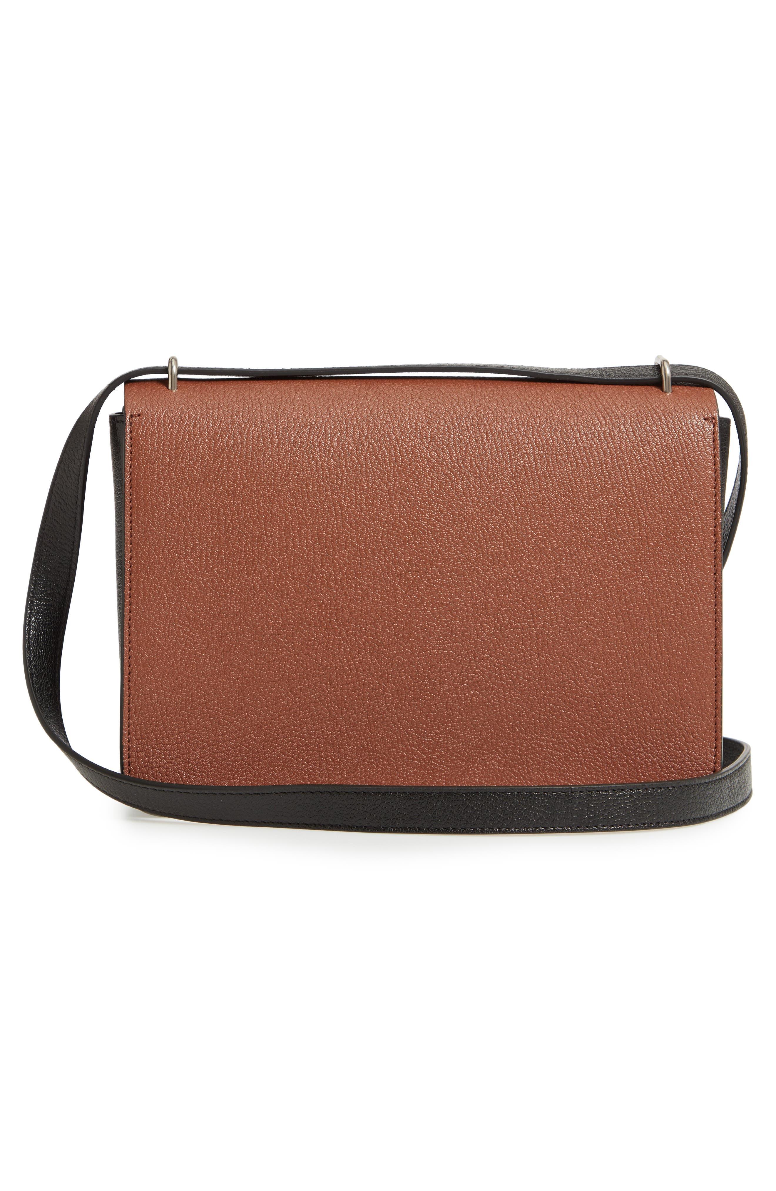 Medium D-Ring Vintage Check & Leather Crossbody Bag,                             Alternate thumbnail 3, color,                             TAN/ BLACK