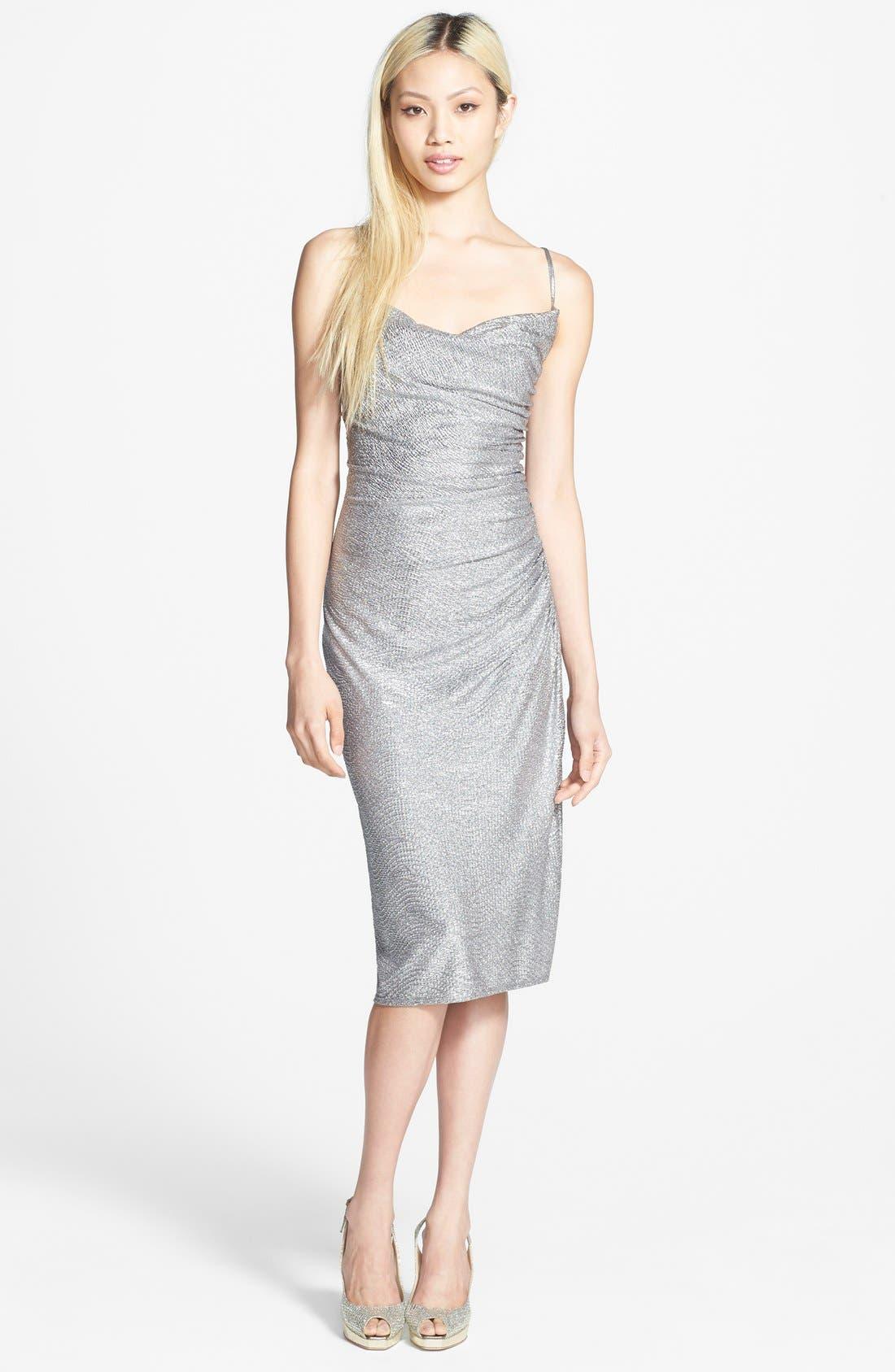 Metallic Shirred Dress,                             Alternate thumbnail 3, color,                             040